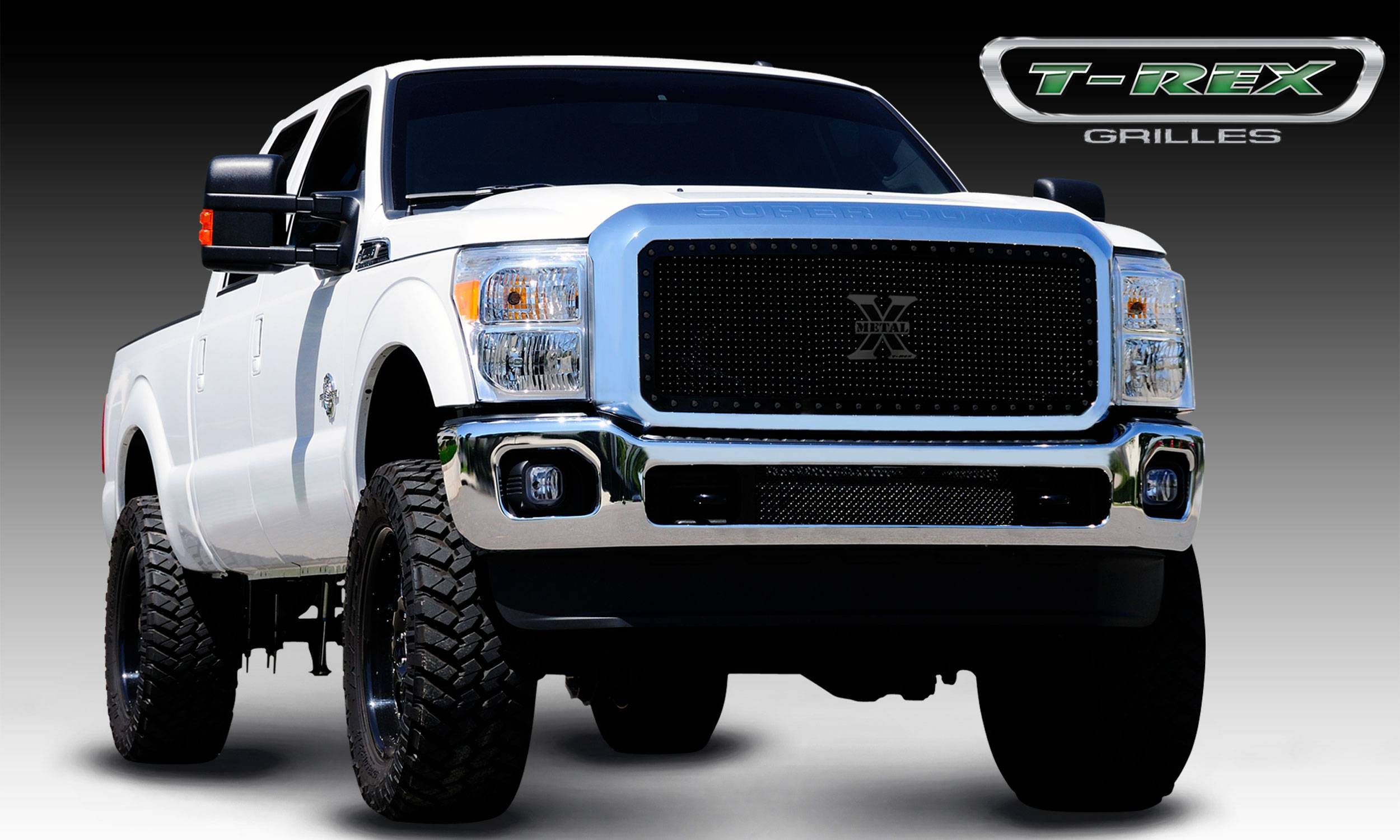 T-REX Grilles - Ford Super Duty Stealth Metal Black Studded Main Grille - 1 Pc - Pt # 6715461-BR