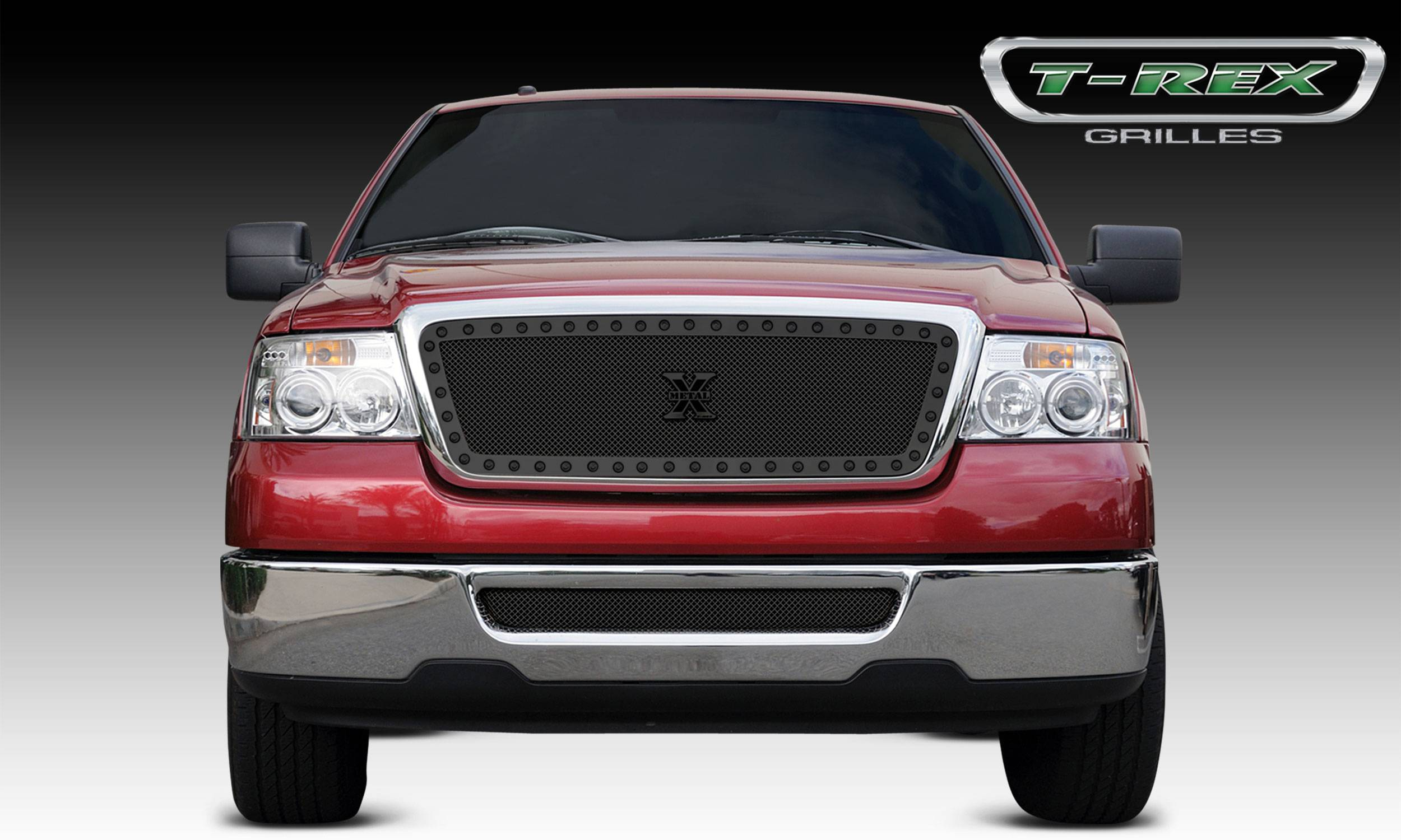 T-REX Grilles - Ford F-150 All Models X-METAL Series Black Studded Main Grille - ALL Black - Pt # 6715561-BR