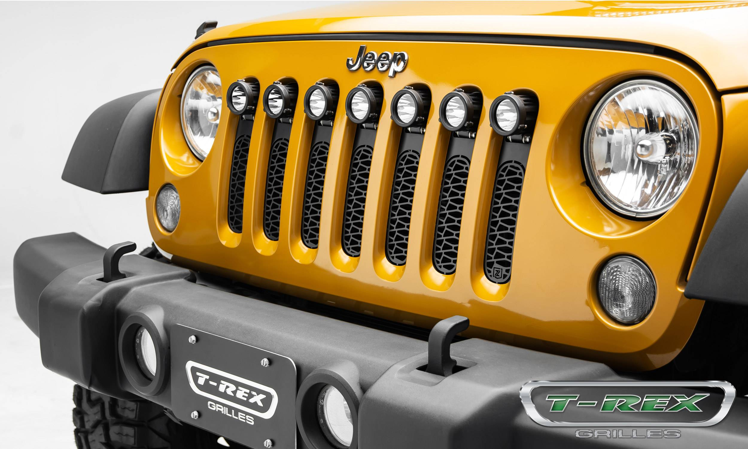 "T-REX Grilles - 2007-2018 Jeep JK, JKU ZROADZ Grille, Black, 1 Pc, Insert, Incl. (7) 2"" LED Round Lights - PN #Z314841"