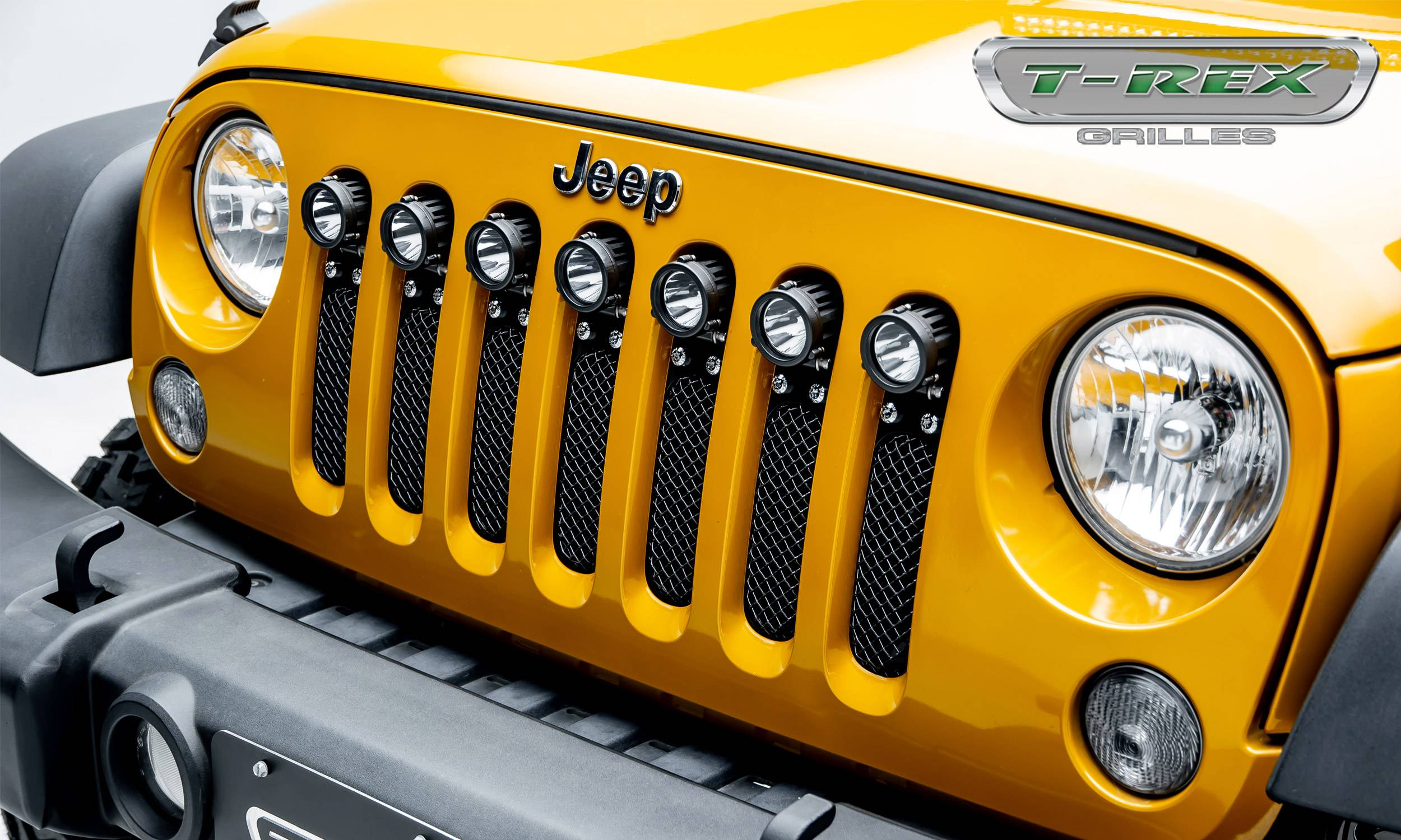 "T-REX Grilles - Jeep Wrangler JK - Torch Series w/ (7) 2"" Round LED Lights - 1 Piece Frame & Formed Wire Mesh - Insert  - Pt # 6314841"