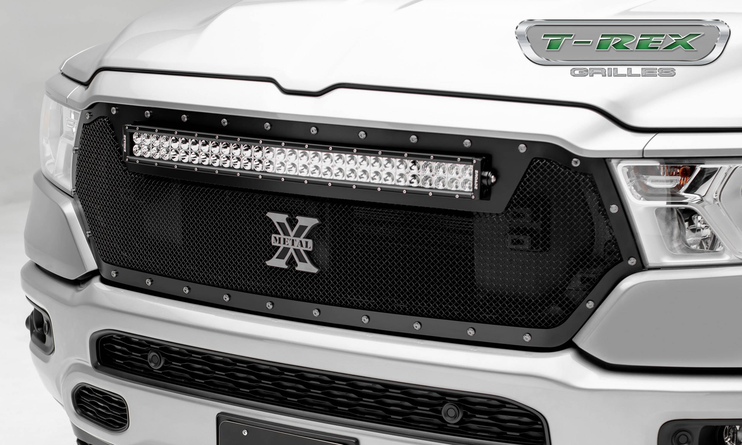 "T-REX Grilles - 2019 Ram 1500 Laramie, Lone Star, Big Horn, Tradesman Torch Grille, Black, 1 Pc, Replacement, Chrome Studs, Incl. (1) 30"" LED - PN #6314651"