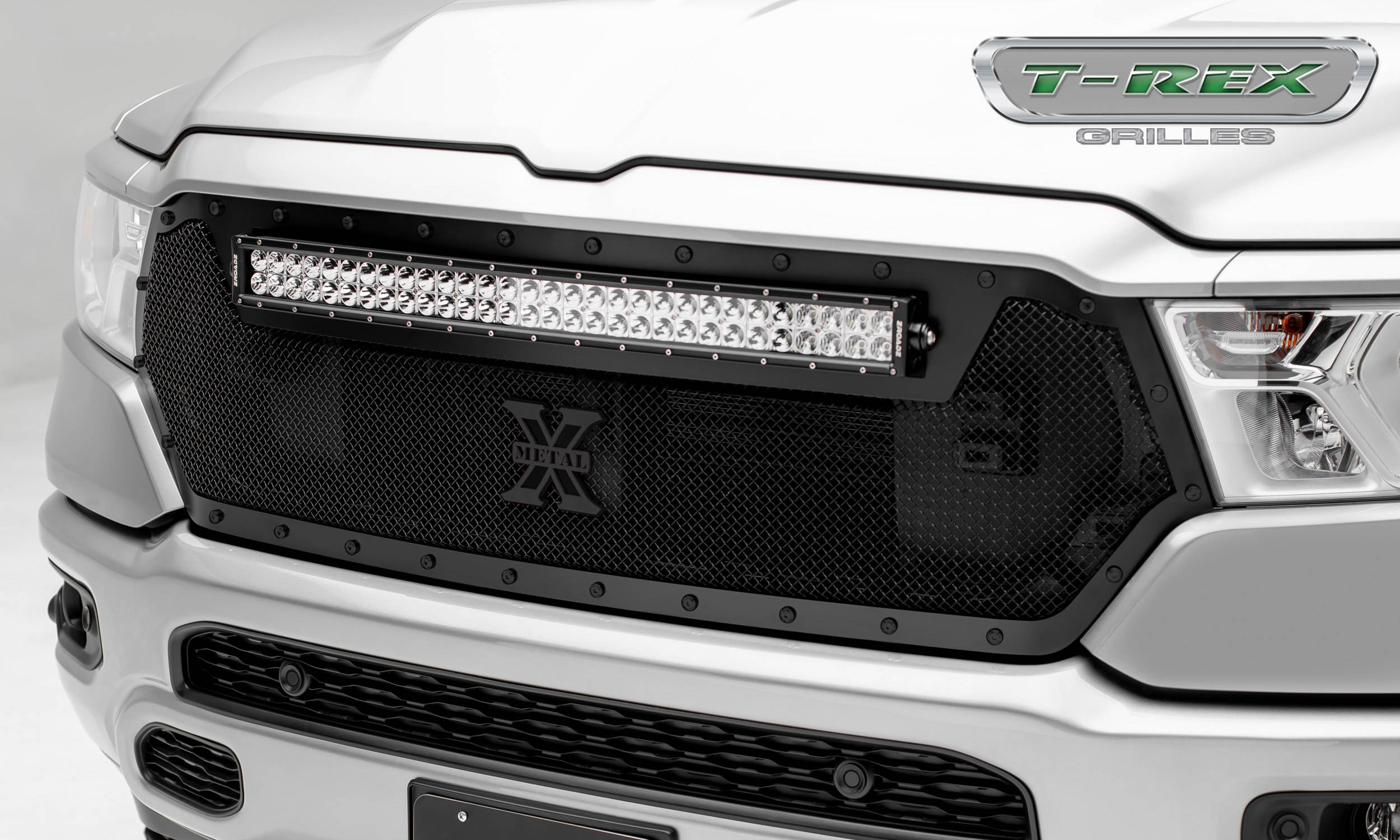 T-REX Grilles - RAM 1500 - Stealth Torch Main Grille Replacement w/ (1) 30 inch LED Light Bar - Formed Mesh & Black Studs - Black Finish - Pt # 6314651-BR