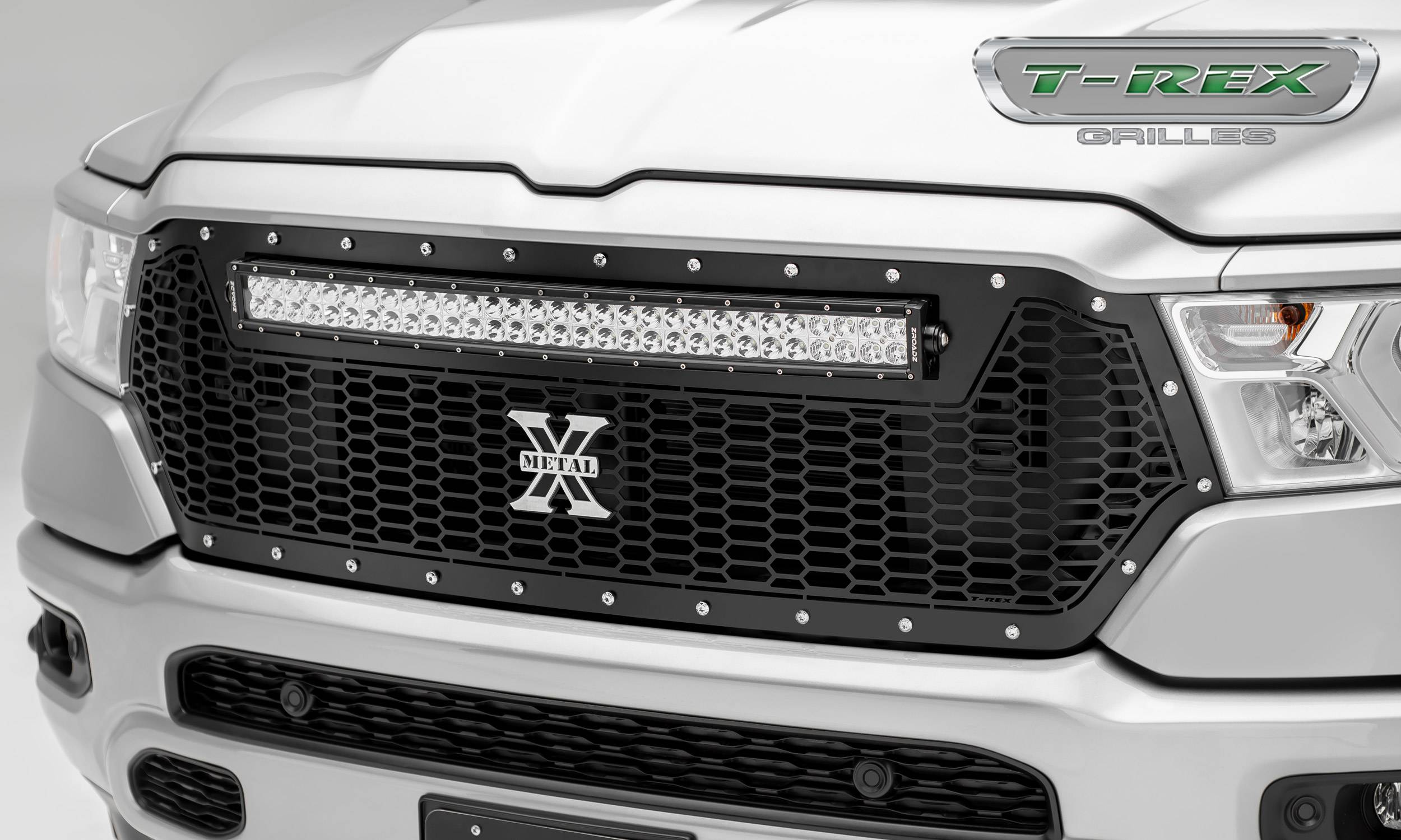 T-REX Grilles - RAM 1500 - Laser Torch Main Grille Replacement w/ (1) 30 inch LED Light Bar - Laser Cut Repeating Pattern, Chrome Studs - Black Finish - Pt # 7314651