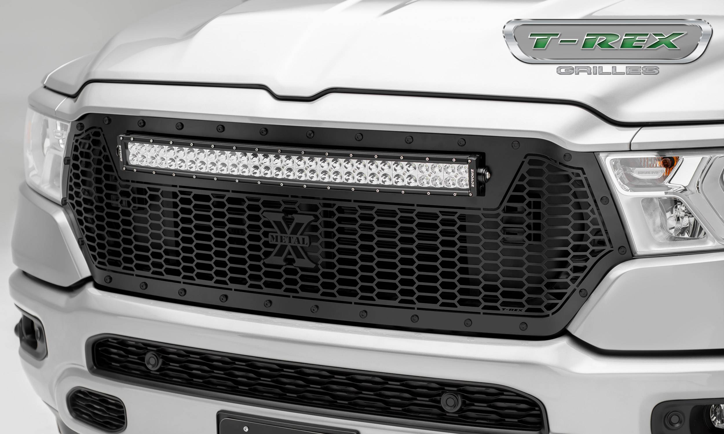 T-REX Grilles - RAM 1500 - Stealth Laser Torch Main Grille Replacement w/ (1) 30 inch LED Light Bar - Laser Cut Repeating Pattern & Black Studs - Pt # 7314651-BR