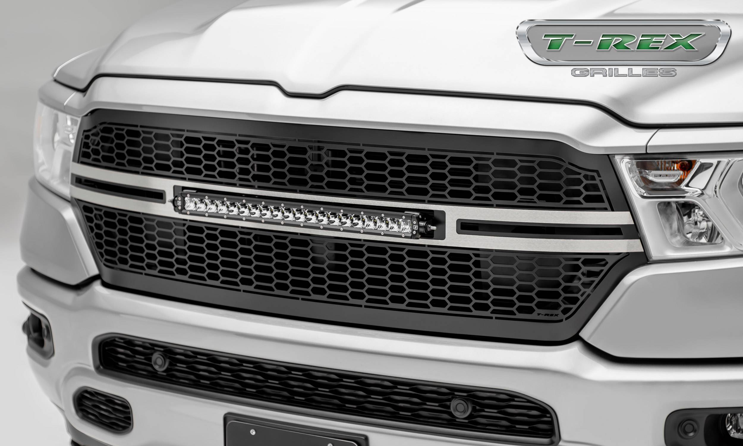 T-REX Grilles - RAM 1500 - Laser Torch Main Grille Replacement w/ (1) 20 inch Single Row LED Light Bar - Laser Cut Repeating Pattern Trim - Pt # 7314651-T