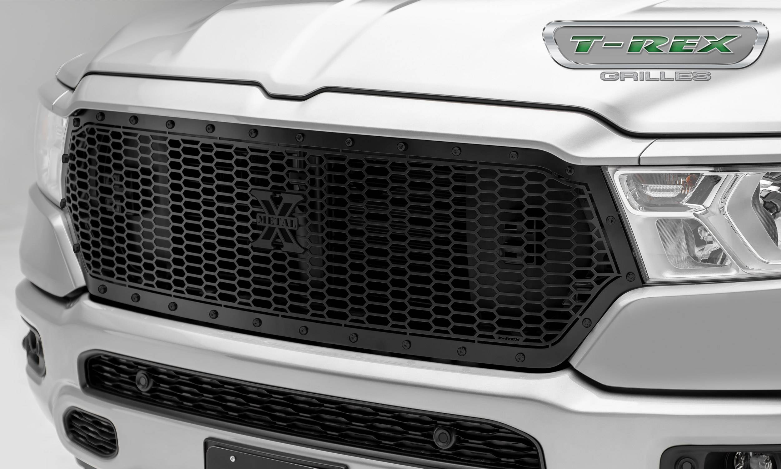 T-REX Grilles - RAM 1500 - Stealth Laser X Series - Main Grille Replacement w/ Laser Cut Repeating Pattern & Black Studs - Black Powder Coat Finish - Pt # 7714651-BR