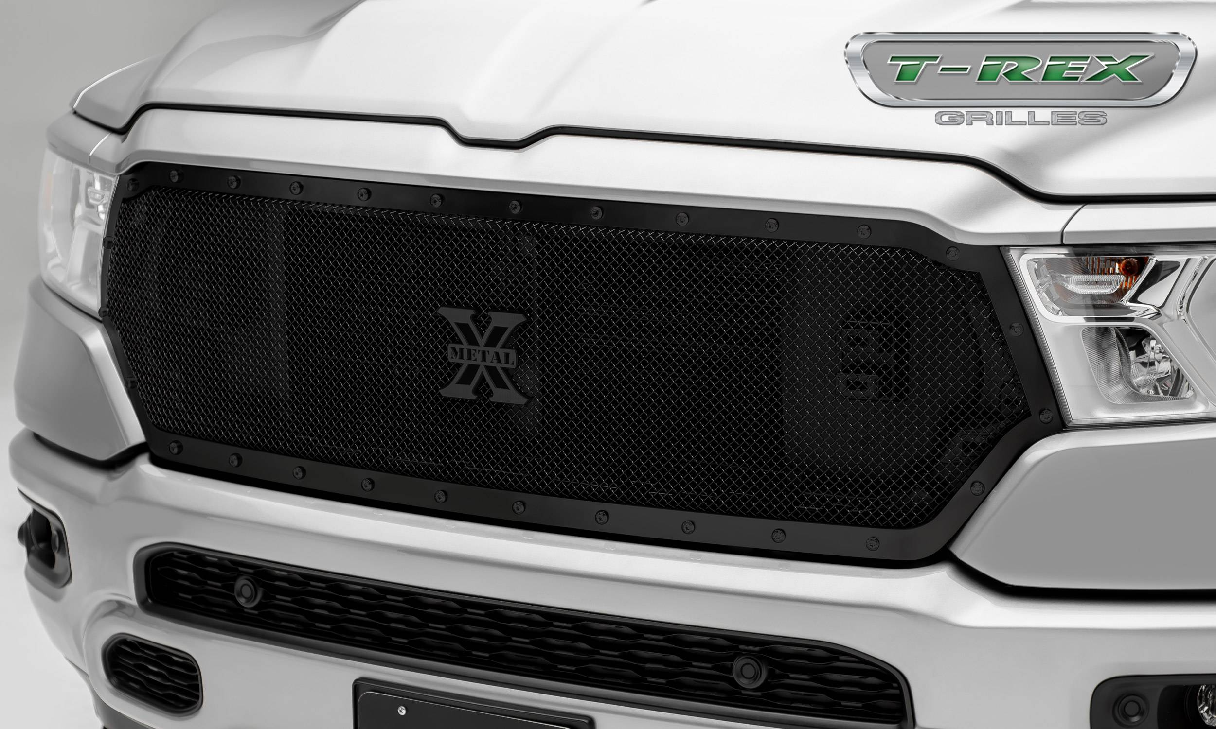 T-REX Grilles - RAM 1500 - Stealth X-Metal Series - Main Grille Replacement w/ Formed Mesh & Black Studs - Black Powder Coat Finish - Pt # 6714651-BR