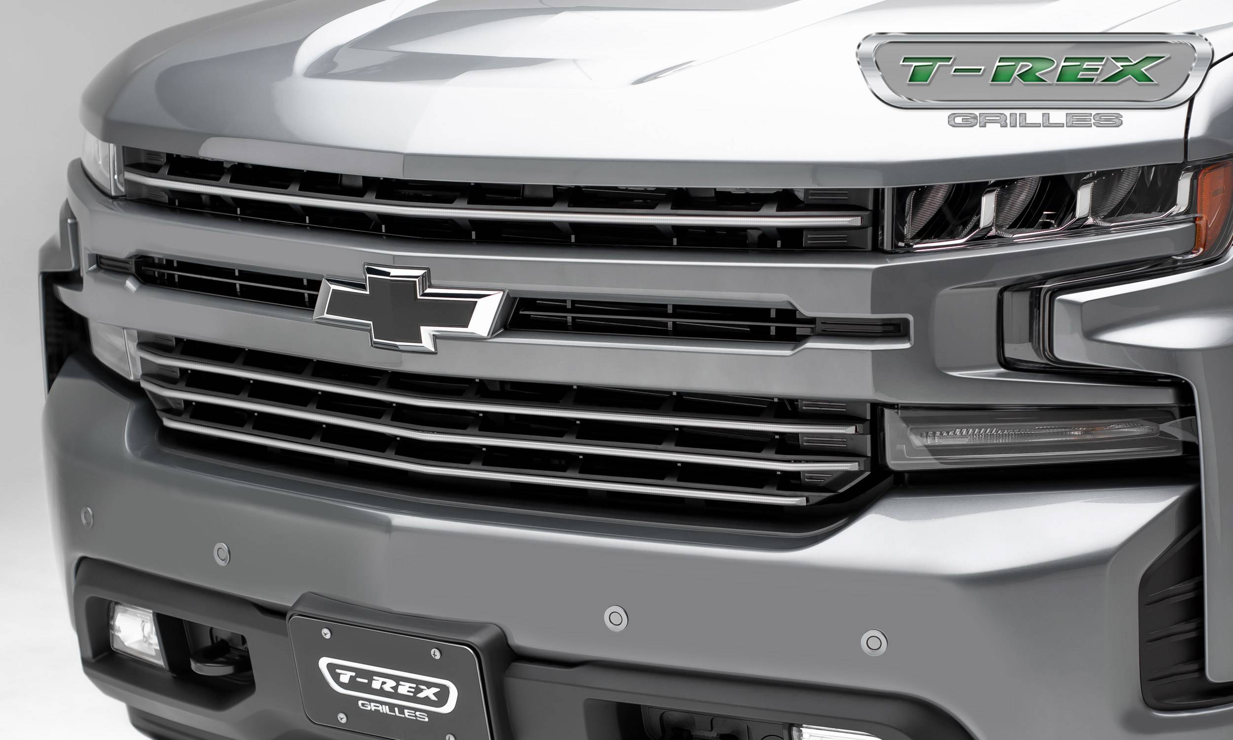 T-REX Grilles - Chevrolet Silverado 1500 2019 Billet Grille, Horizontal Round, Brushed, Aluminum, 4 Pc, Overlay - Pt #6211233