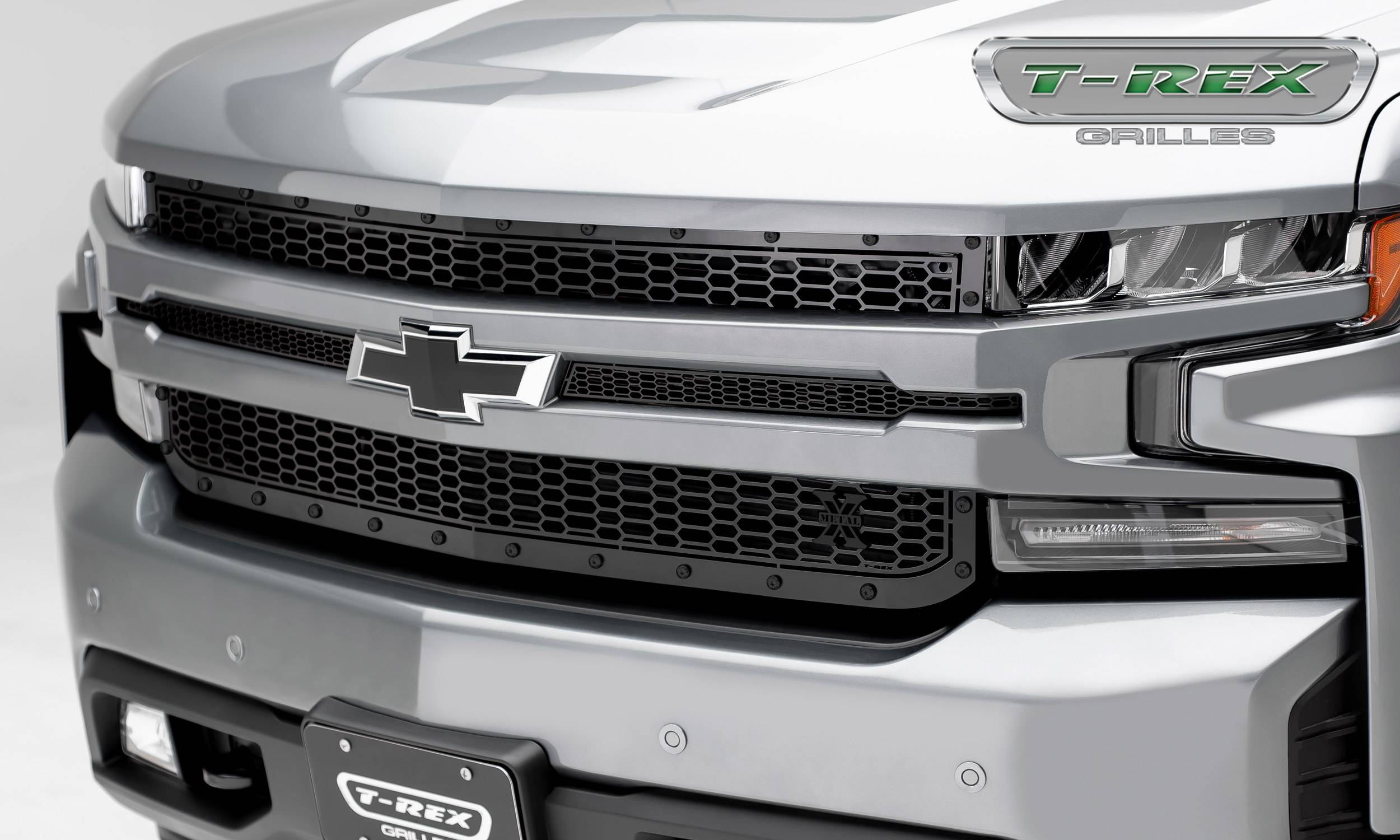 T-REX Grilles - 2019 Silverado 1500 Stealth Laser X Grille, Black, 1 Pc, Replacement, Black Studs - PN #7711261-BR