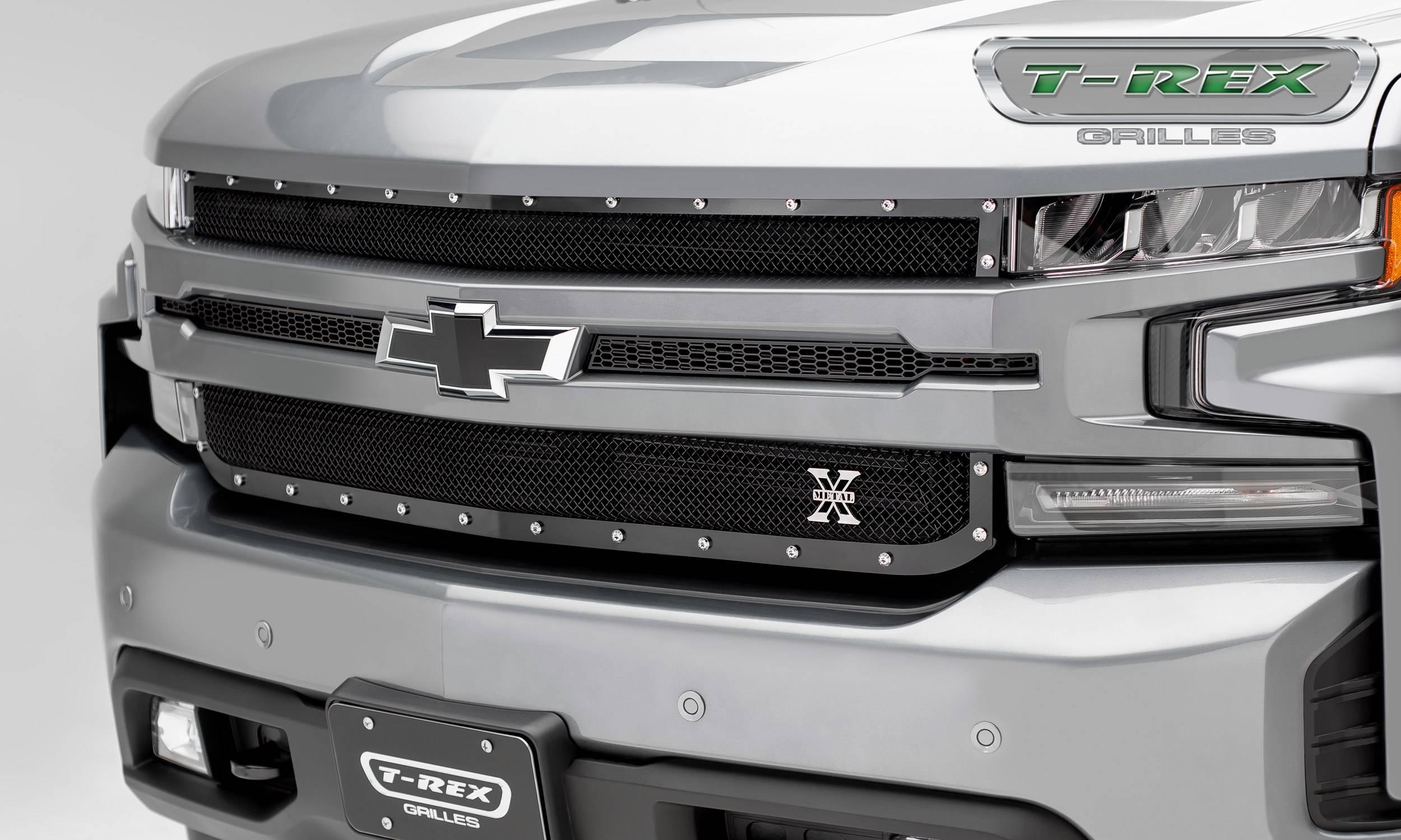 T-REX Grilles - 2019 Silverado 1500 X-Metal Grille, Black, 1 Pc, Replacement, Chrome Studs - PN #6711261