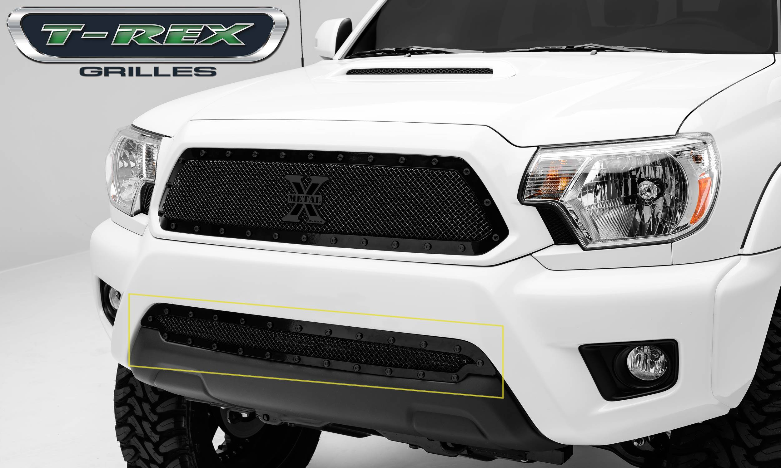 T-REX Grilles - 2012-2015 Tacoma Stealth X-Metal Bumper Grille, Black, 1 Pc, Overlay, Black Studs - PN #6729381-BR