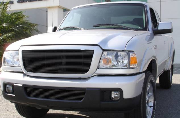 T-REX Grilles - Ford Ranger XLT / FX4 Billet Grille Insert 21 Bars Requires cutting factory bars - All Black - Pt # 20661B