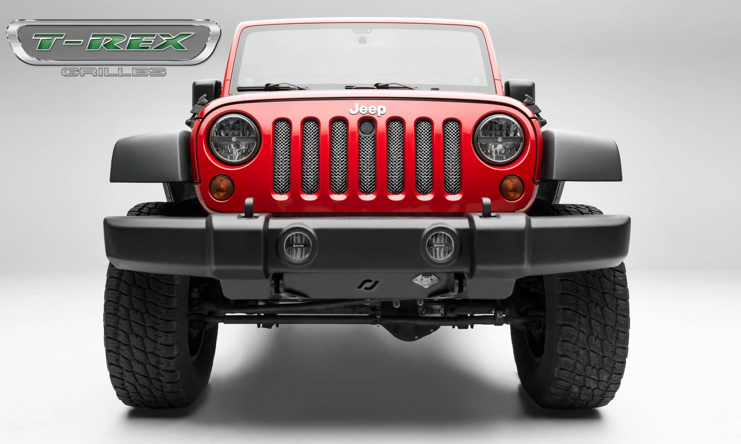 T-REX Grilles - 2007-2018 Jeep Wrangler Sport Series Formed Mesh Grille, Triple Chrome Stainless Steel - PN#44482