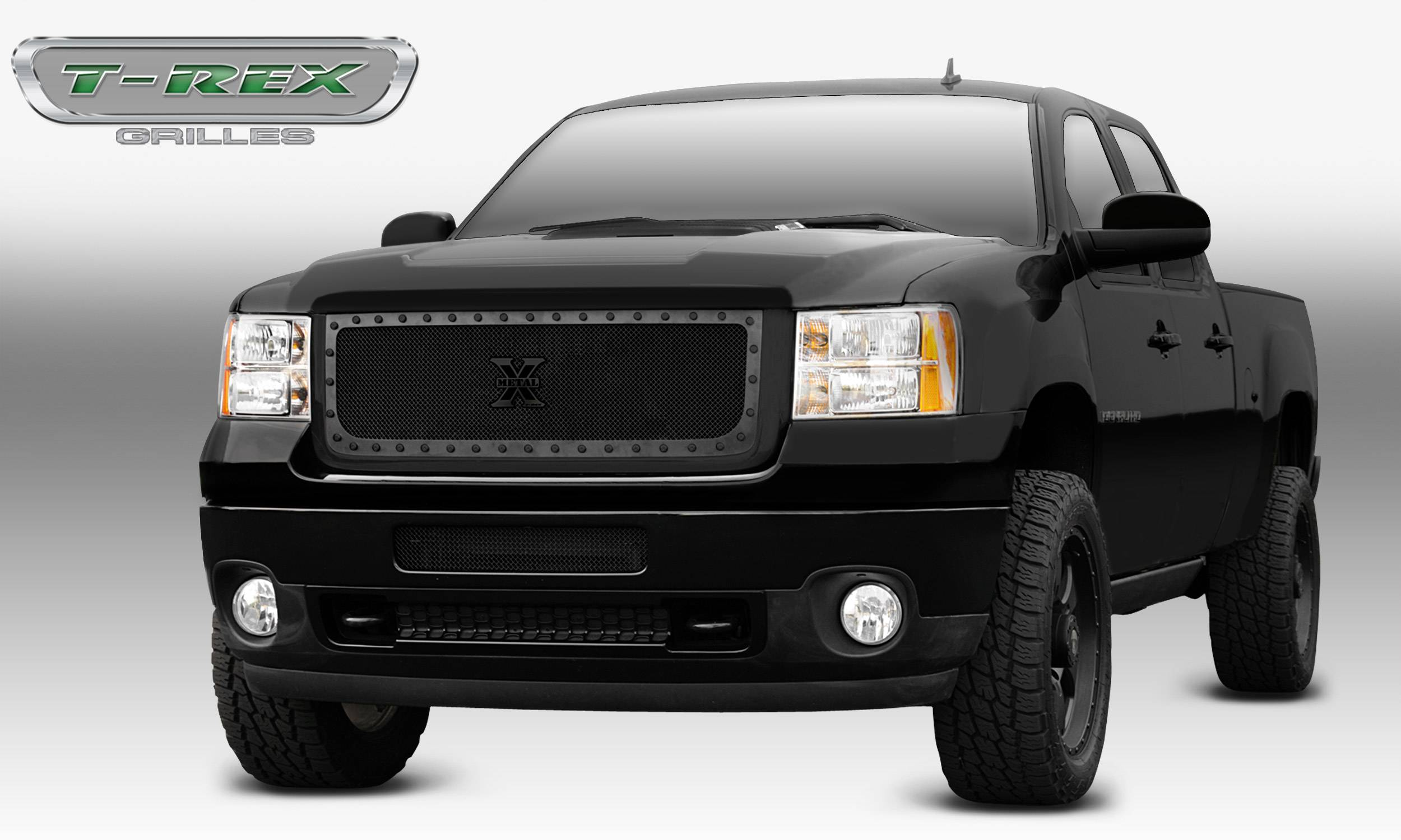 T-REX Grilles - 2011-2014 Sierra HD Stealth X-Metal Grille, Black, 1 Pc, Insert, Black Studs - PN #6712091-BR