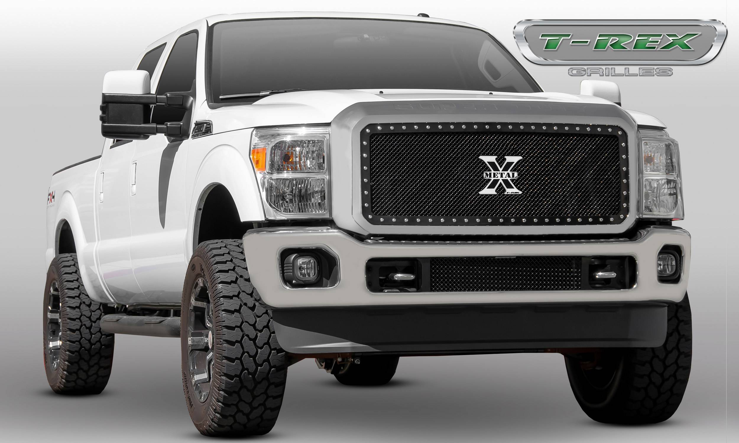 T-REX Grilles - 2011-2016 Super Duty X-Metal Grille, Black, 1 Pc, Insert, Chrome Studs - PN #6715461
