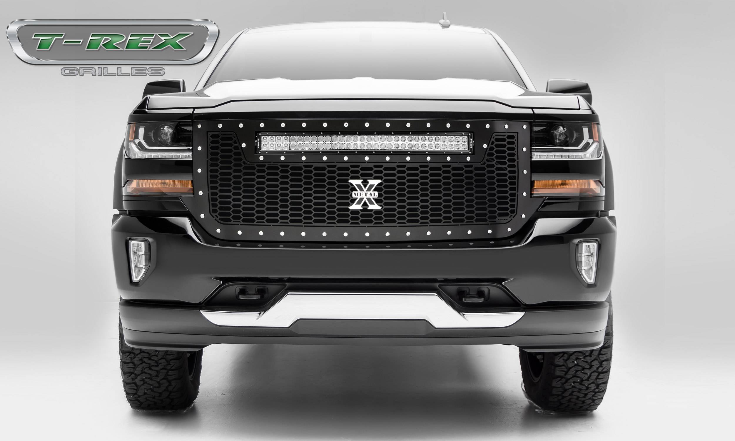 T-REX Grilles - 2016-2018 Chevrolet Silverado 1500 Laser Torch Grille, Black, Mild Steel, 1 Pc, Replacement -#7311281