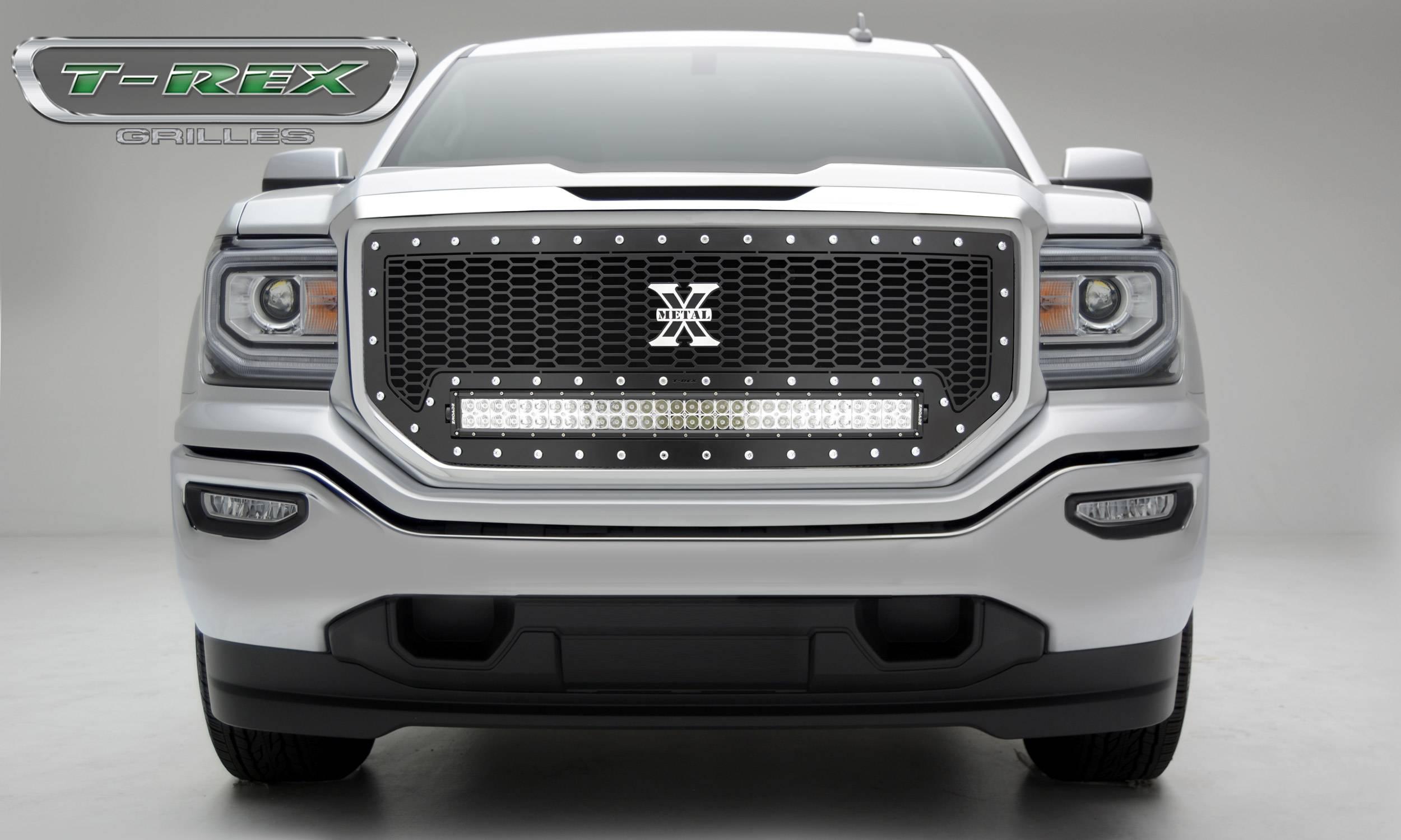 "T-REX Grilles - 2016-2018 Sierra 1500 Laser Torch Grille, Black, 1 Pc, Insert, Chrome Studs, Incl. (1) 30"" LED - PN #7312131"