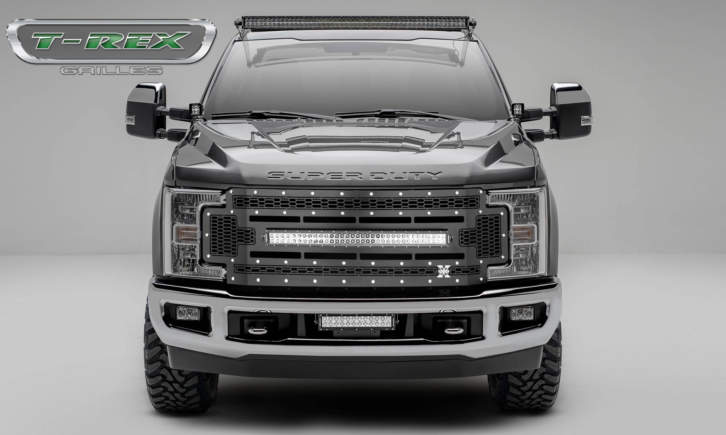 T-REX Grilles - 2017-2019 Ford Super Duty Laser Torch Grille, Black, Mild Steel, 1 Pc, Replacement -#7315471