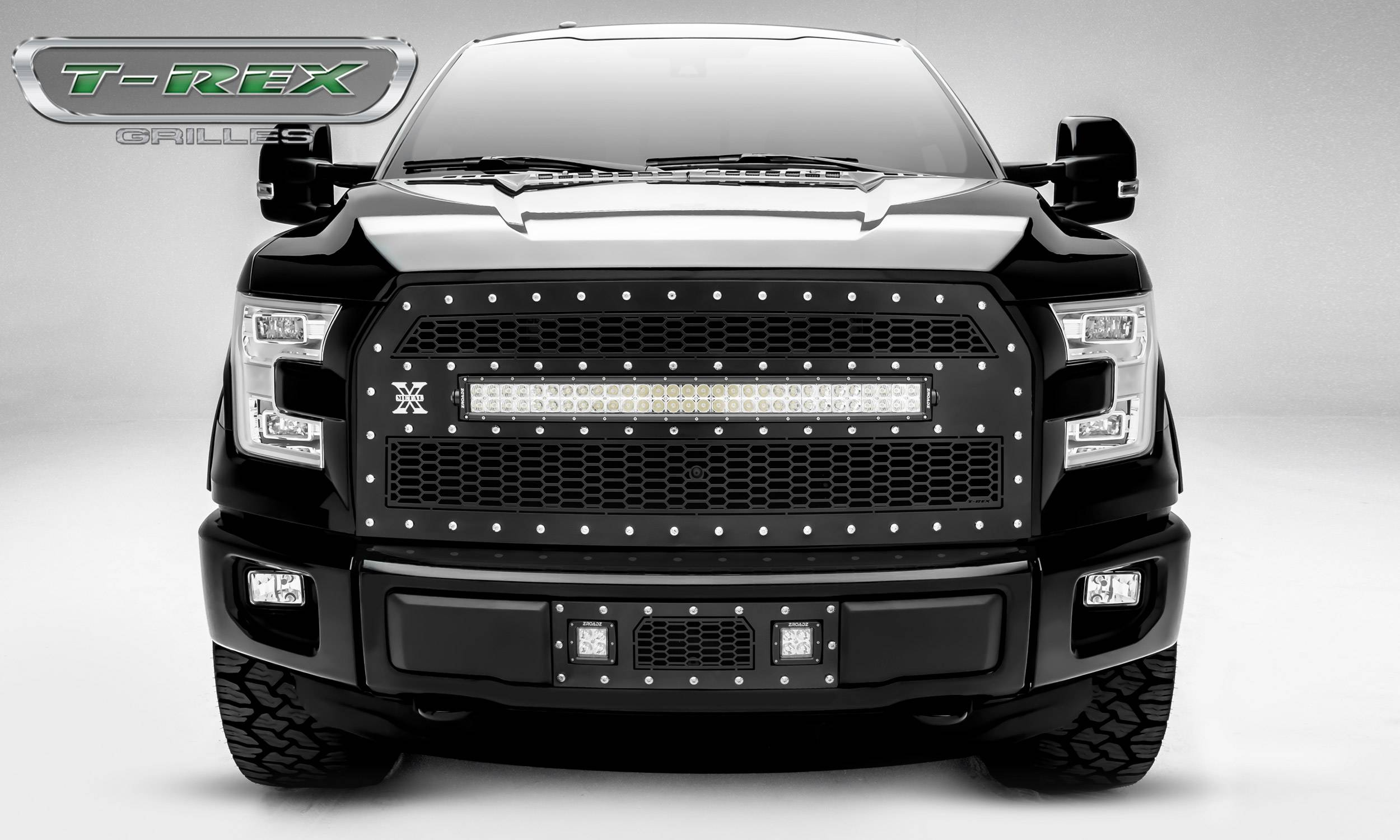 "T-REX Grilles - 2015-2017 F-150 Laser Torch Grille, Black, 1 Pc, Replacement, Chrome Studs, Incl. (1) 30"" LED, Fits Vehicles with Camera - PN #7315741"