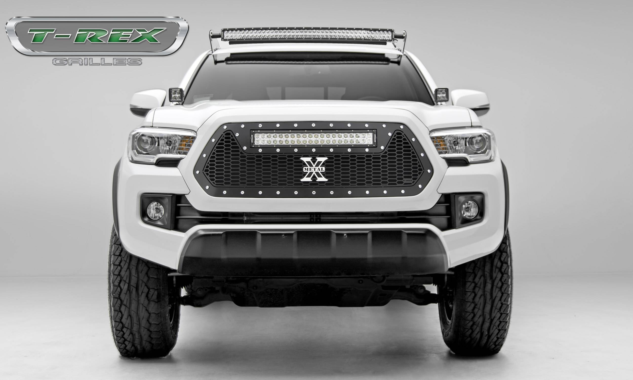 "T-REX Grilles - 2016-2017 Tacoma Laser Torch Grille, Black, 1 Pc, Insert, Chrome Studs, Incl. (1) 20"" LED - PN #7319411"
