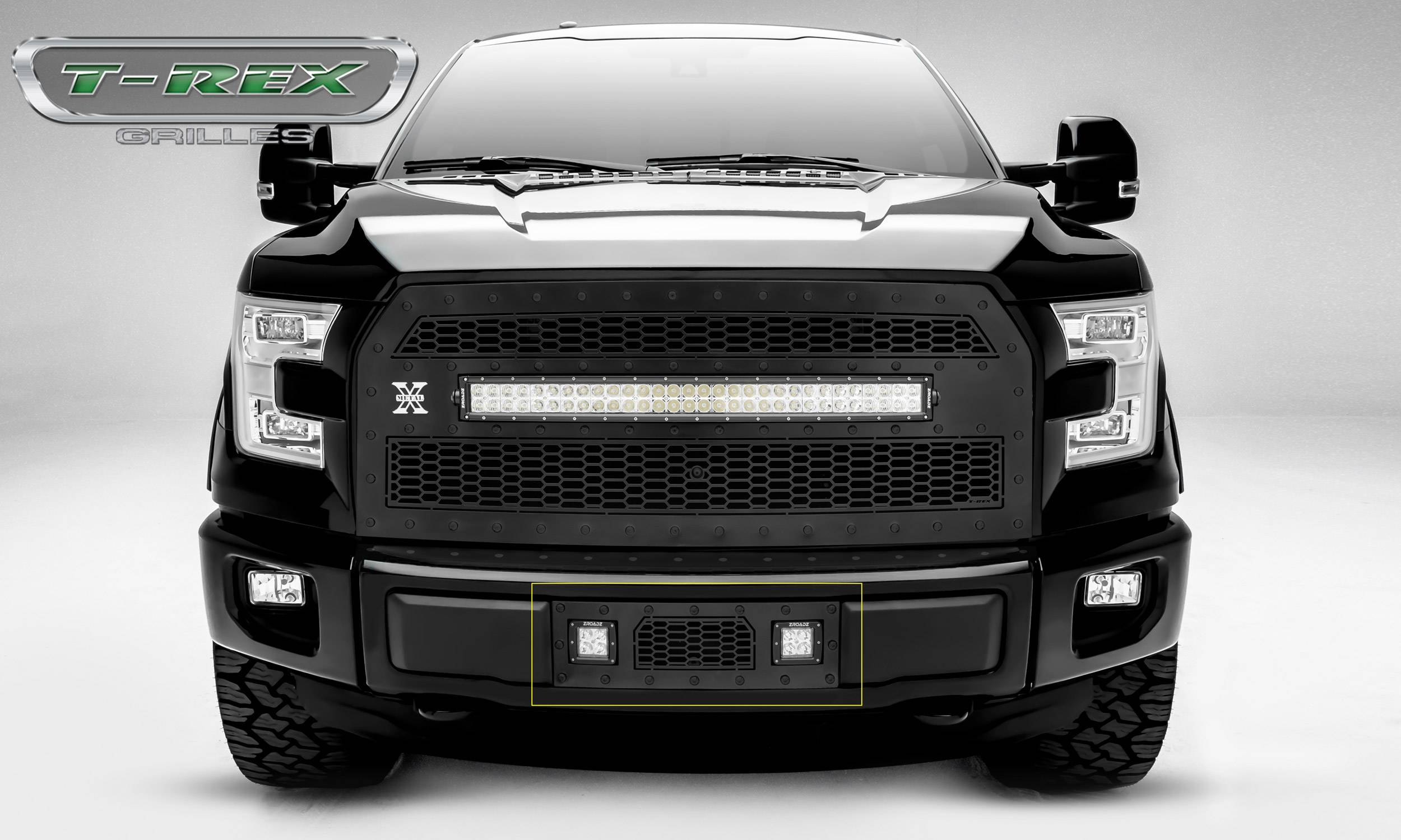 "T-REX Grilles - 2015-2017 F-150 Stealth Laser Torch Bumper Grille, Black, 1 Pc, Insert, Black Studs, Incl. (2) 3"" LED Cube Lights - PN #7325731-BR"