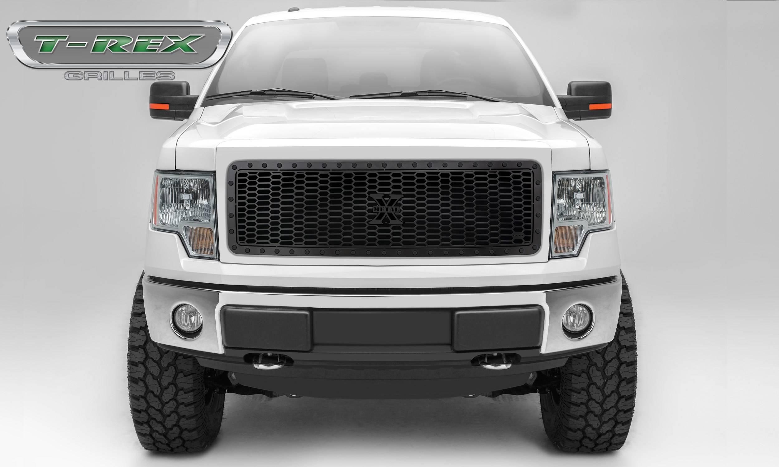 T-REX Grilles - 2013-2014 Ford F-150 Stealth Laser X Grille, Black, Mild Steel, 1 Pc, Insert -#7715721-BR