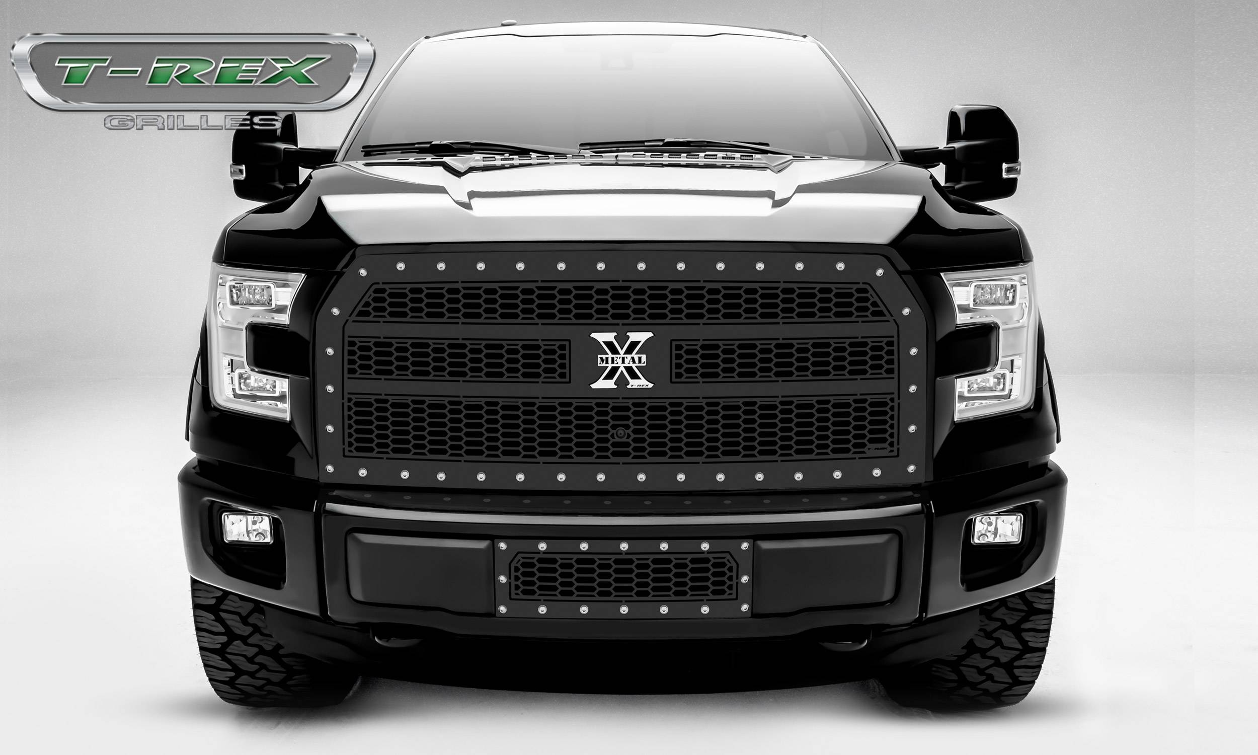 T-REX Grilles - 2015-2017 F-150 Laser X Grille, Black, 1 Pc, Replacement, Chrome Studs, Fits Vehicles with Camera - PN #7715741