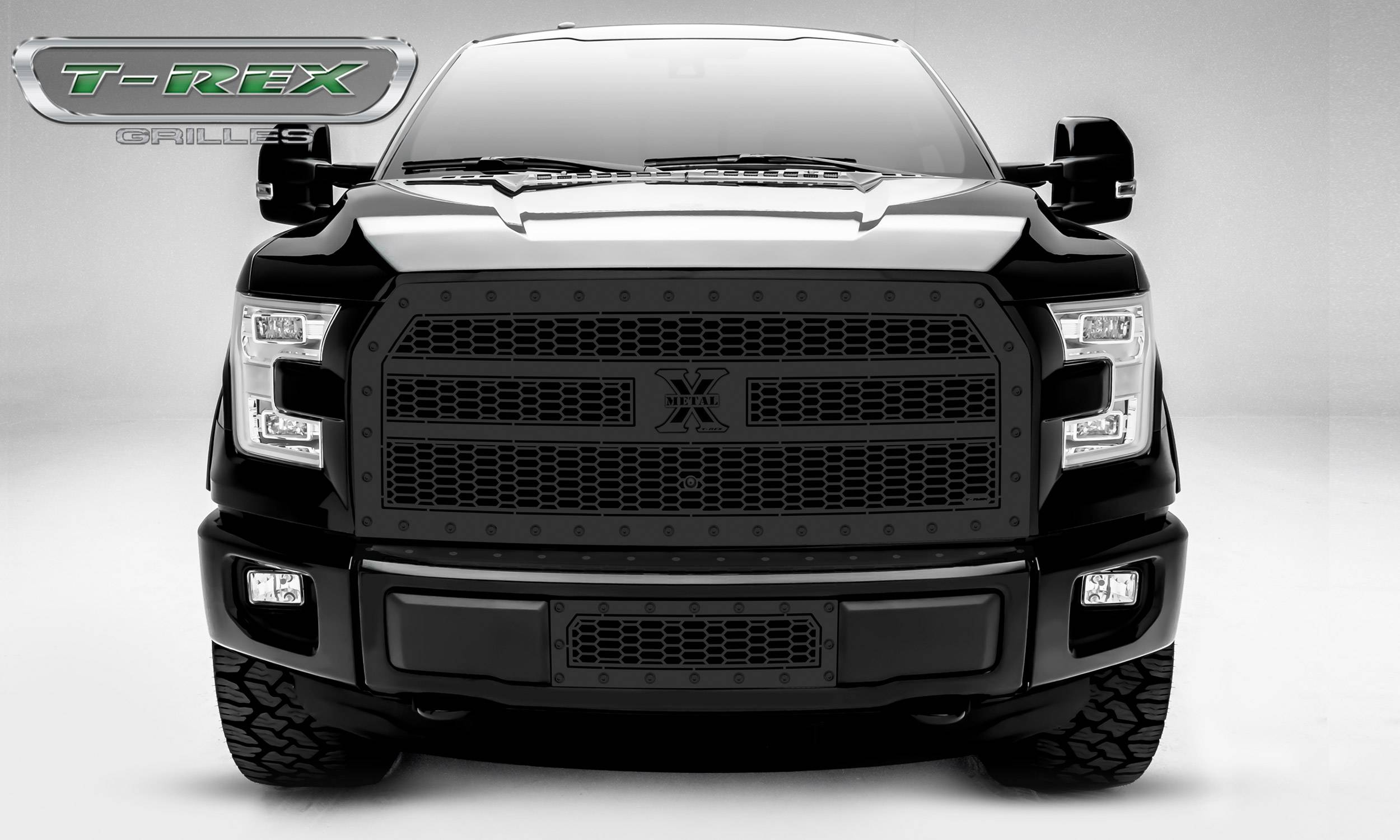 T-REX Grilles - 2015-2017 F-150 Stealth Laser X Grille, Black, 1 Pc, Replacement, Black Studs, Fits Vehicles with Camera - PN #7715741-BR