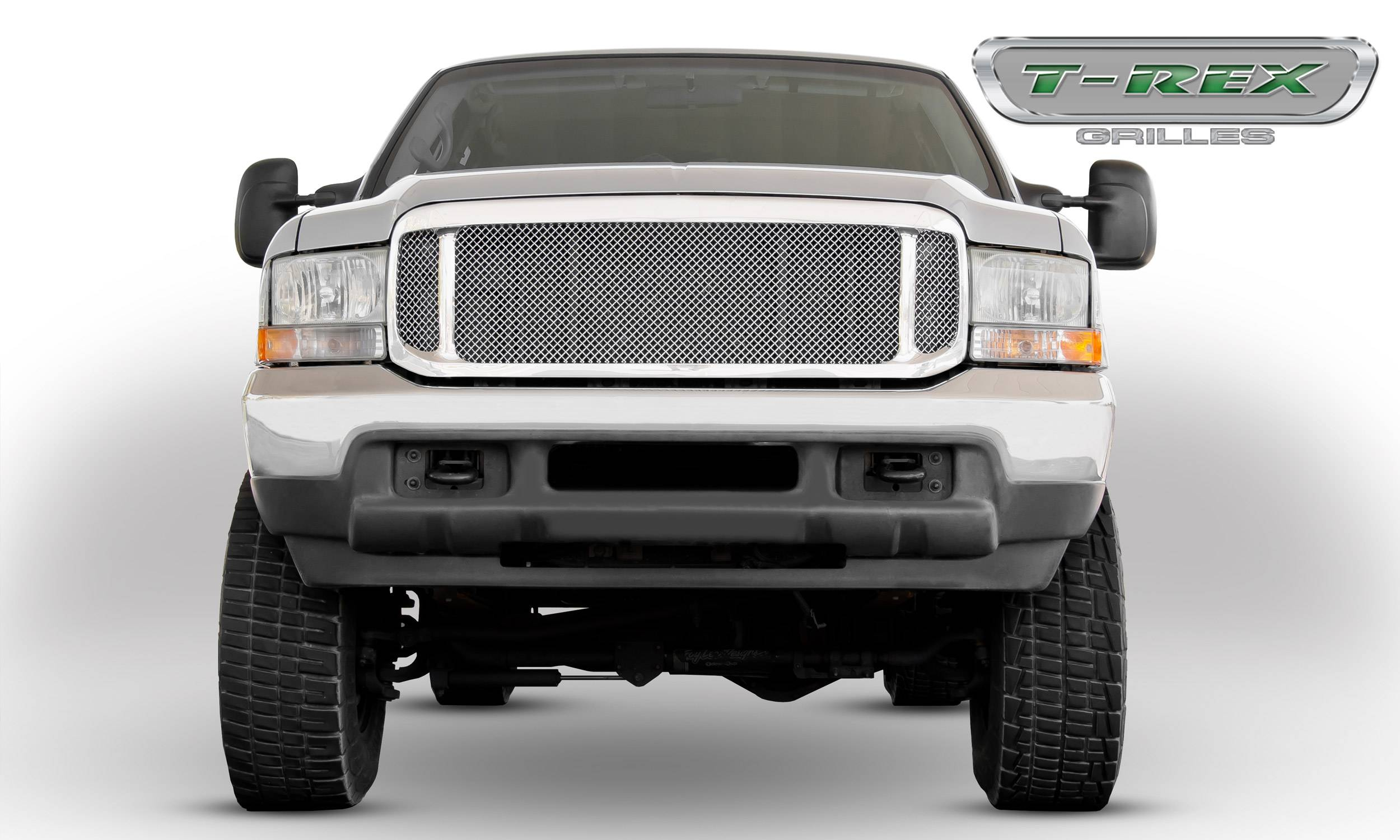 T-REX Grilles - 2000-2004 Ford Excursion, 99-04 Super Duty Upper Class Grille, Polished, 1 Pc, Insert - PN #54571