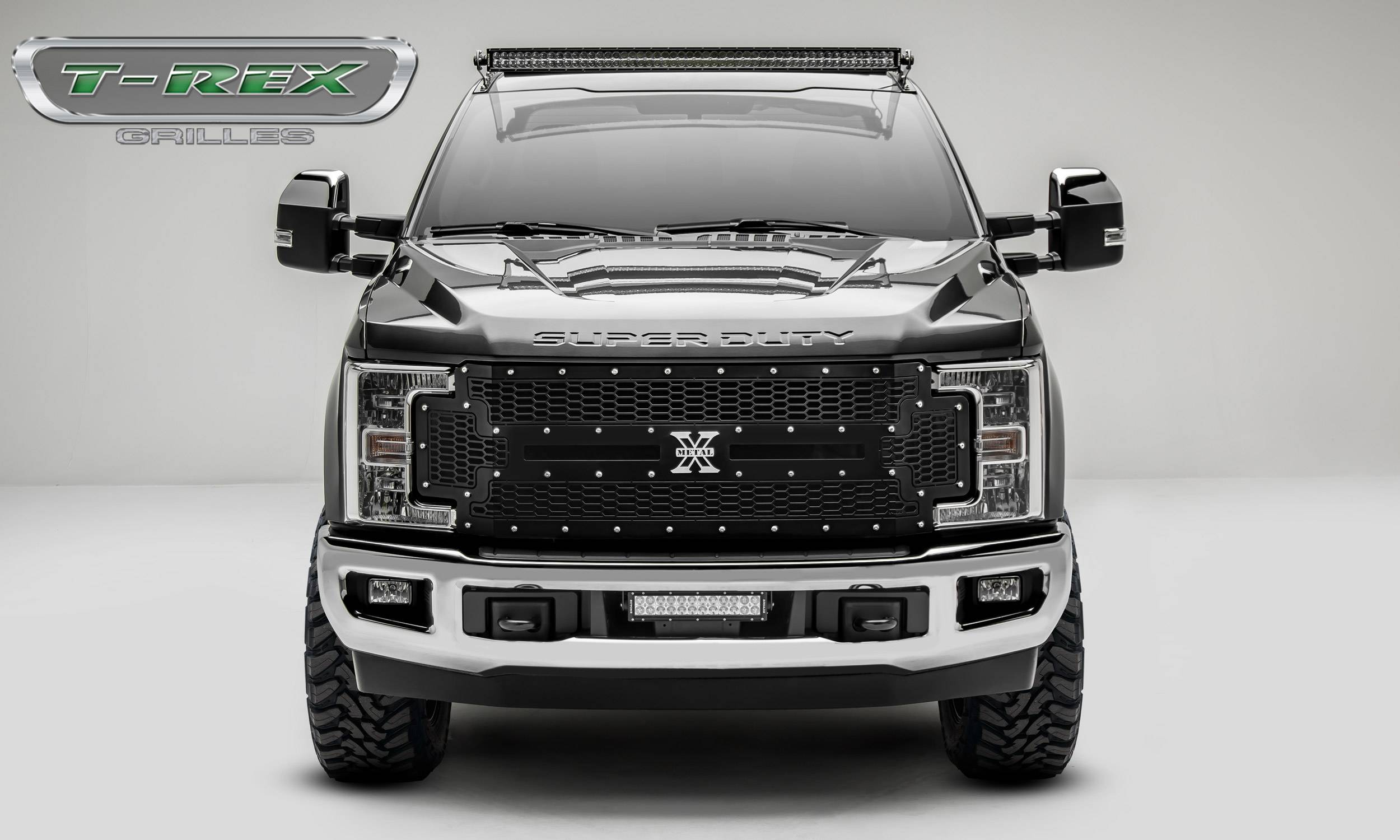 T-REX Grilles - 2017-2019 Super Duty Laser X Grille, Black, 1 Pc, Replacement, Chrome Studs - PN #7715471