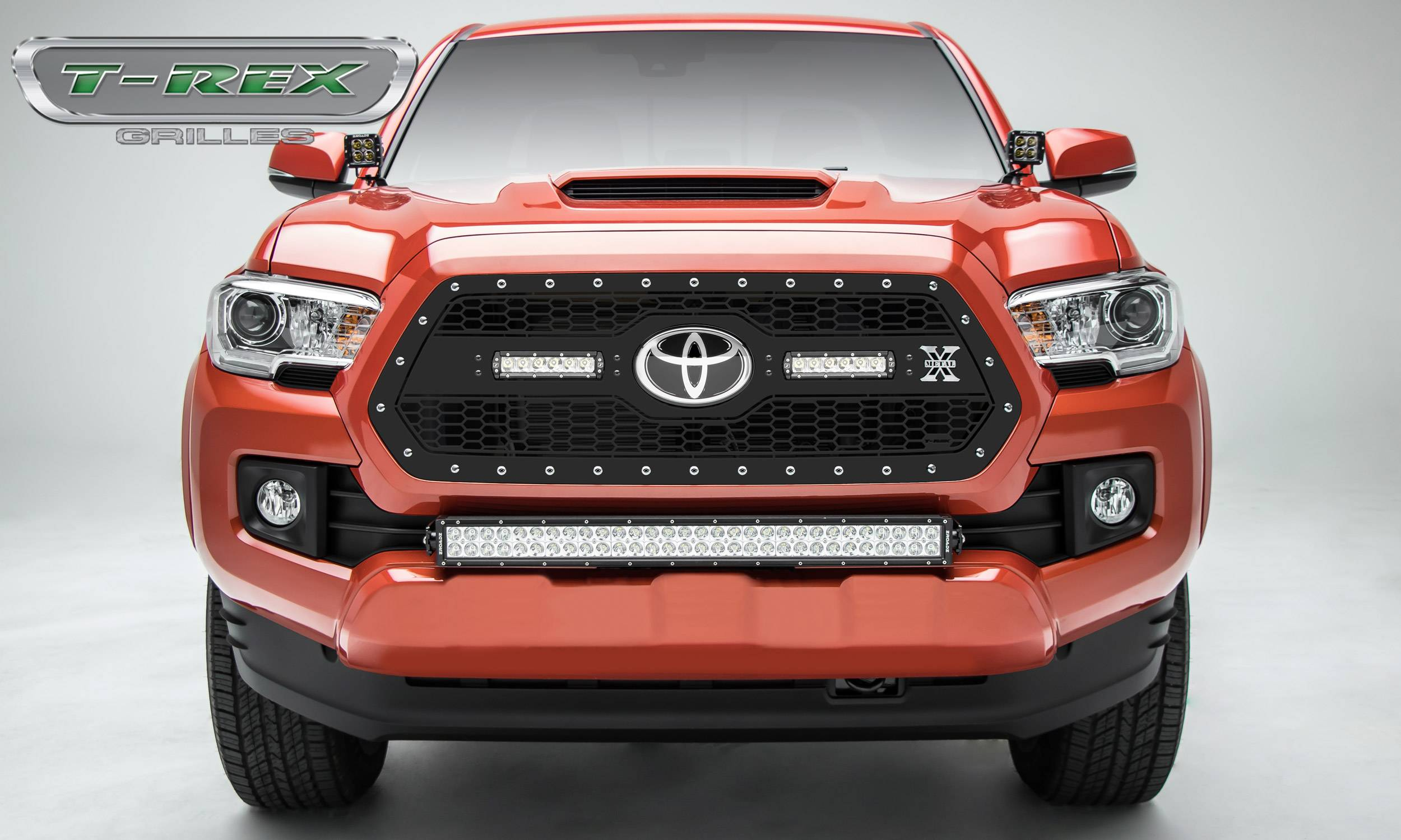 "T-REX Grilles - 2018-2019 Tacoma Laser Torch Grille, Black, 1 Pc, Insert, Chrome Studs, Incl. (2) 6"" LEDs - PN #7319511"