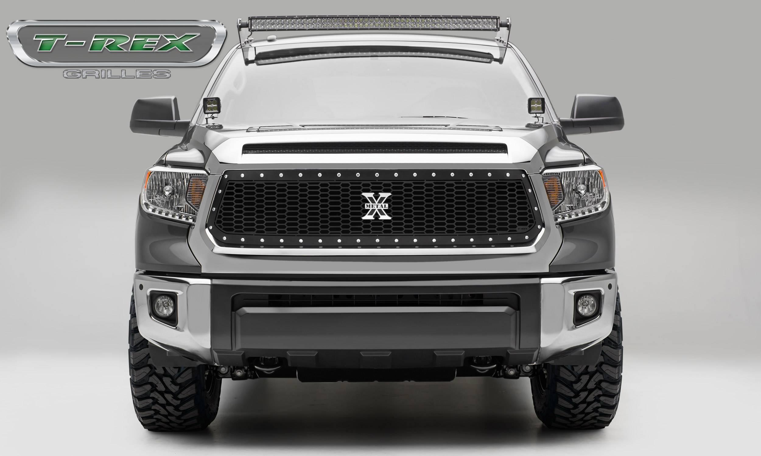 T-REX Grilles - 2014-2017 Tundra Laser X Grille, Black, 1 Pc, Replacement, Chrome Studs - PN #7719641