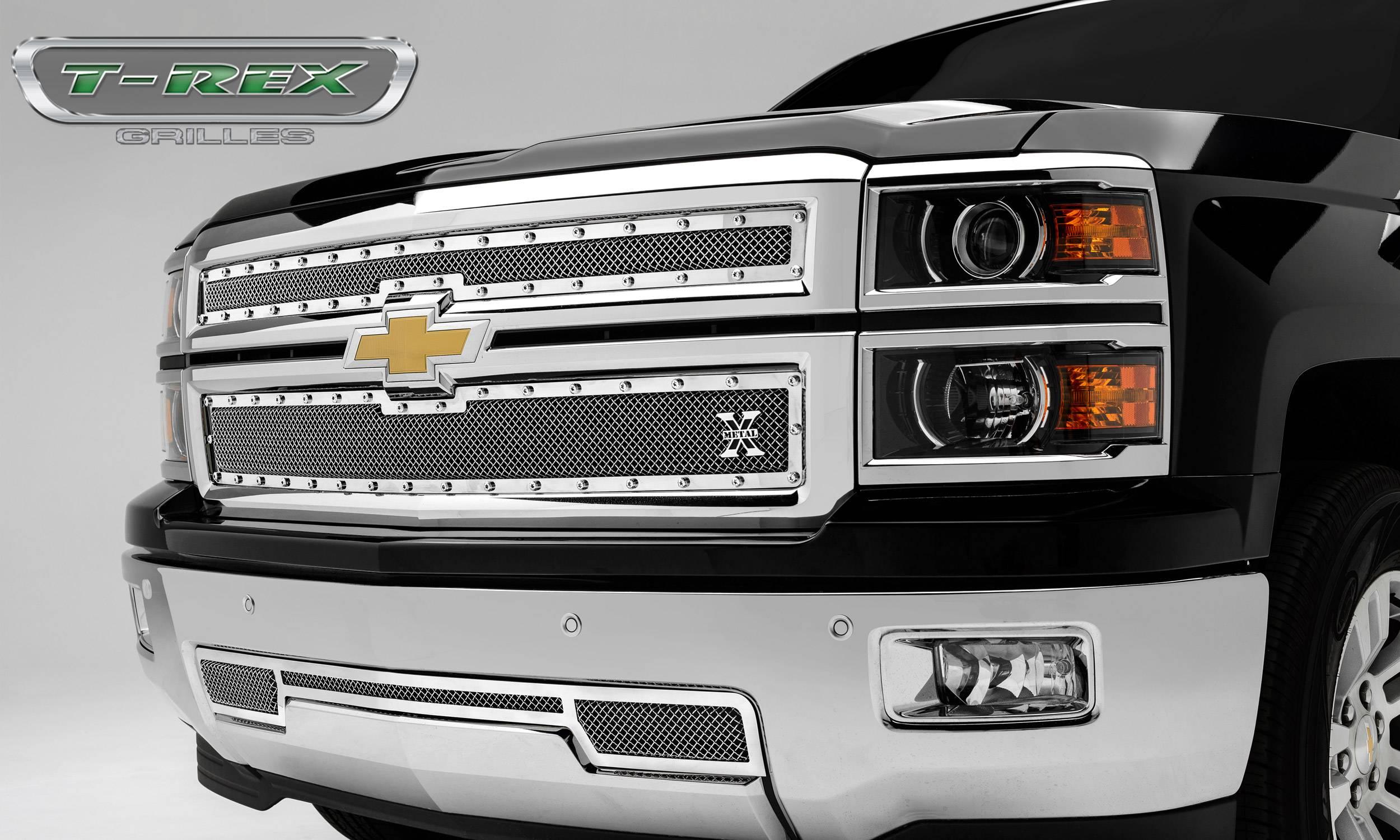 T-REX Grilles - 2014-2015 Silverado 1500 Z71 X-Metal Grille, Polished, 2 Pc, Overlay, Chrome Studs - PN #6711200