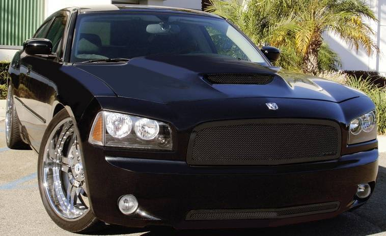 T-REX Grilles - Dodge Charger SRT Upper Class Stainless Mesh Bumper - All Black