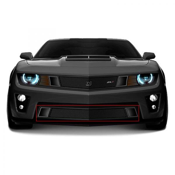 T-REX Grilles - 2014-2015 Chevrolet Camaro (V8) GT Strada Primary Black Mesh Bumper Grille PN# - DJ1402-95