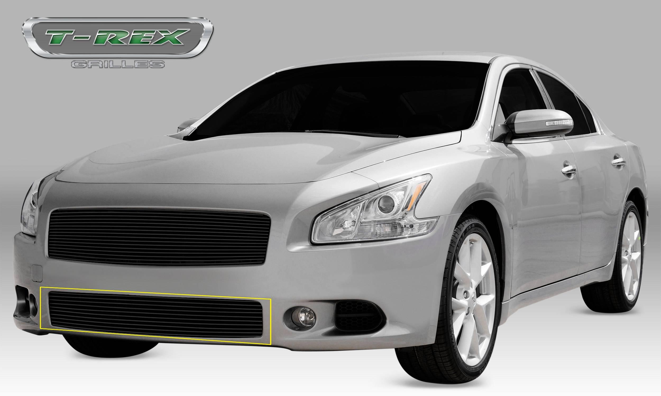 T-REX Grilles - 2009-2014 Nissan Maxima Billet Bumper Grille, Black, 1 Pc, Overlay - PN #25758B