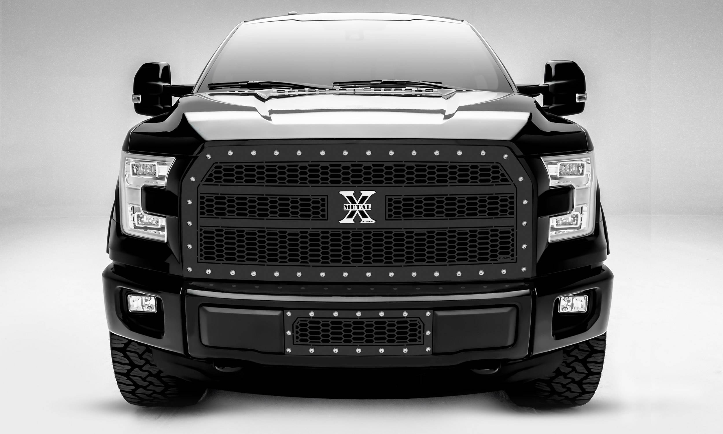 T-REX Grilles - 2015-2017 F-150 Laser X Grille, Black, 1 Pc, Replacement, Chrome Studs, Does Not Fit Vehicles with Camera - PN #7715731