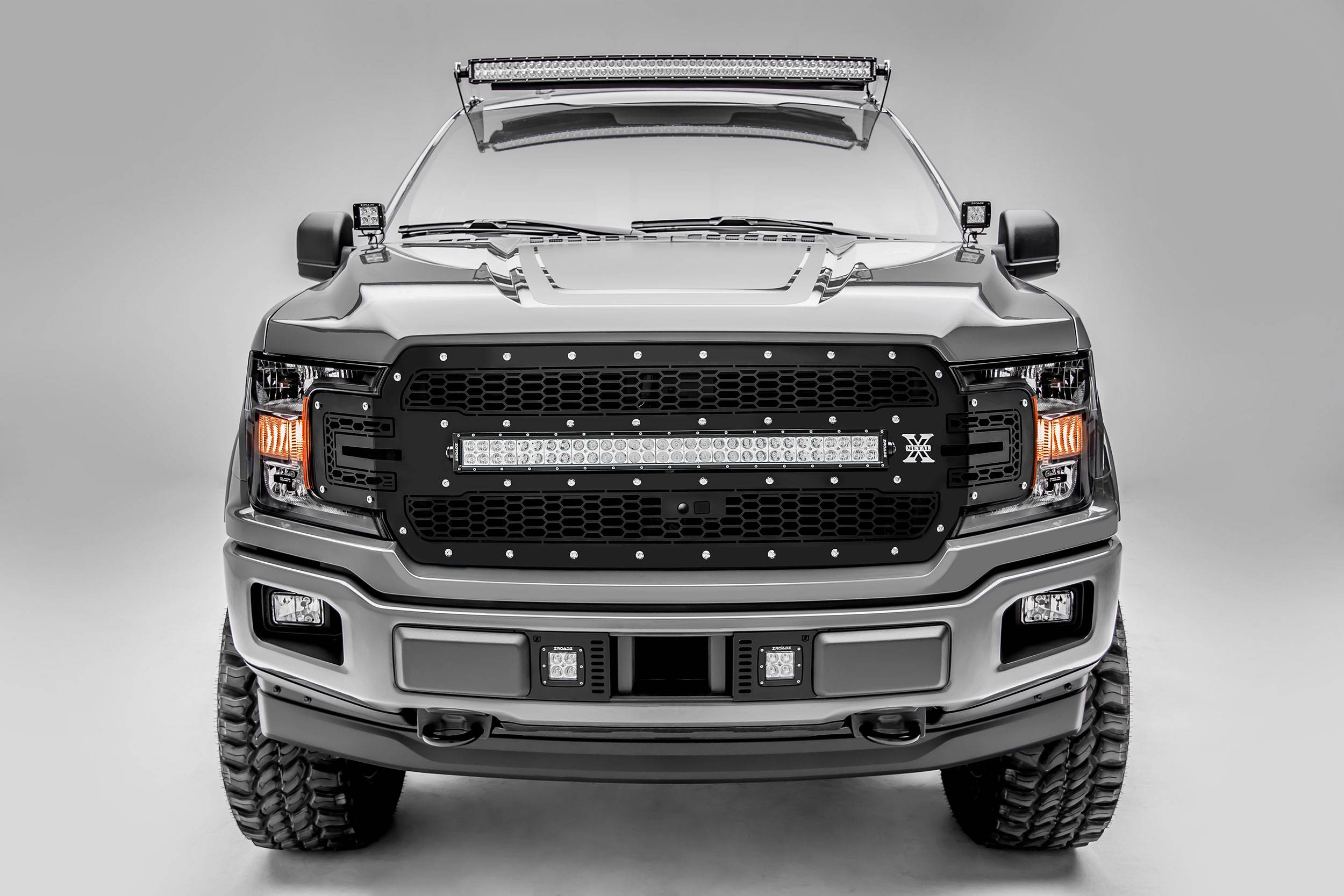 T-REX Grilles - 2018-2020 F-150 Laser Torch Grille, Black, 1 Pc, Replacement, Chrome Studs, Incl. 30 Inch LED, Fits Vehicles with Camera - PN #7315751