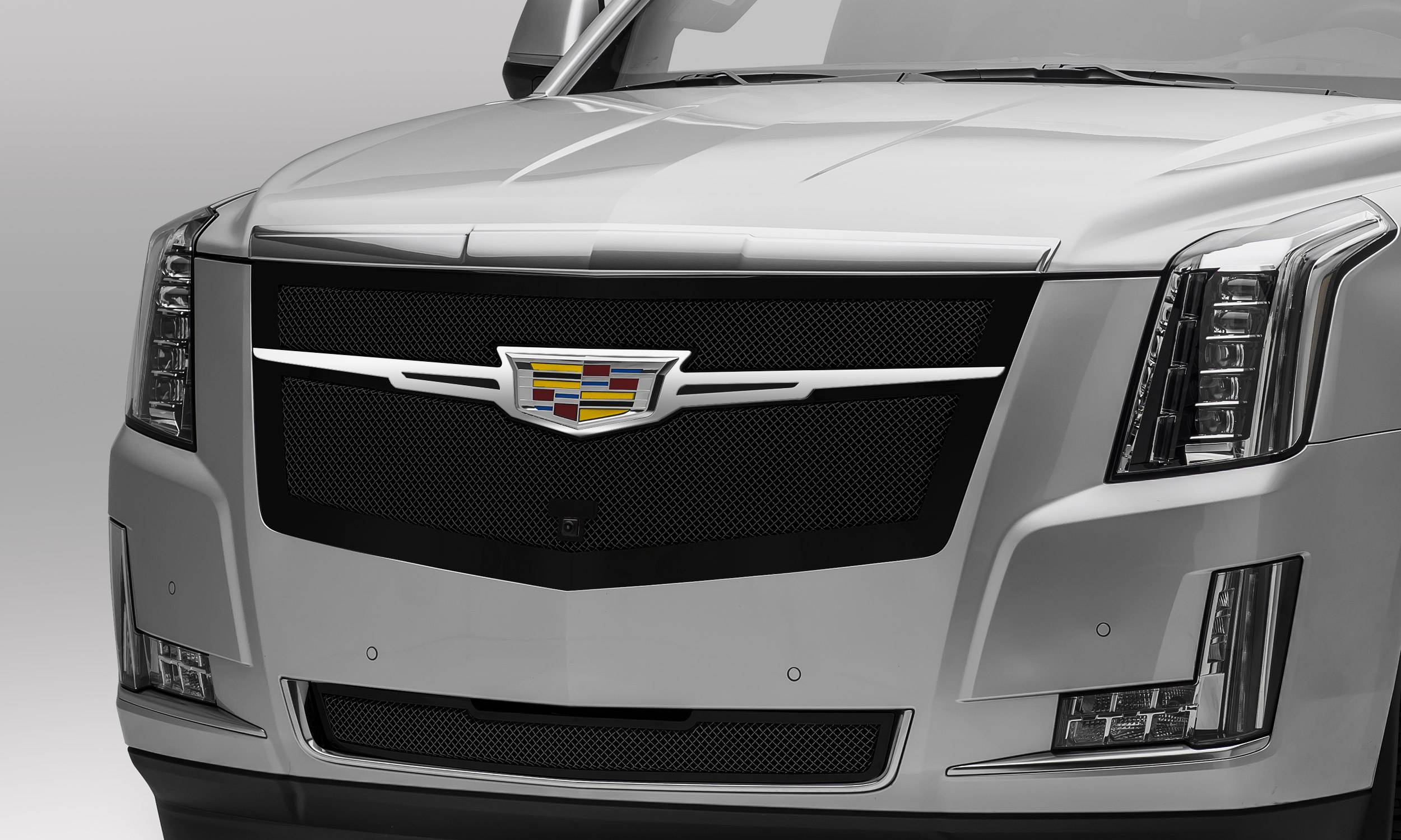 T-REX Grilles - 2015i-2020 Escalade Upper Class Series Main Grille, Black with Chrome Plated Center Trim Piece, 1 Pc, Replacement, Fits Vehicles with Camera - PN #51191
