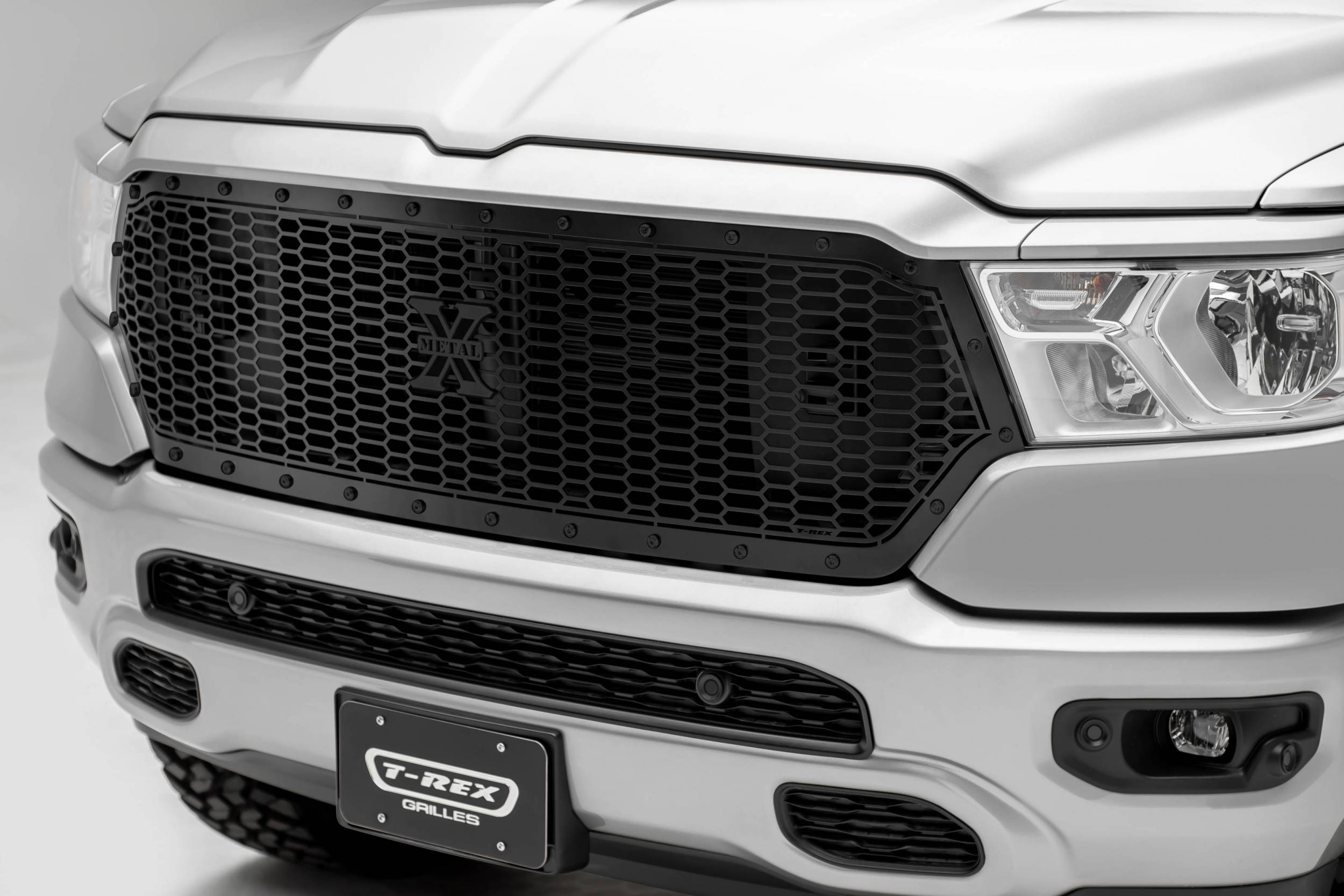 T-REX Grilles - 2019-2021 Ram 1500 Laramie, Lone Star, Big Horn, Tradesman Stealth Laser X Grille, Black, 1 Pc, Replacement, Black Studs, Does Not Fit Vehicles with Camera - PN #7714651-BR