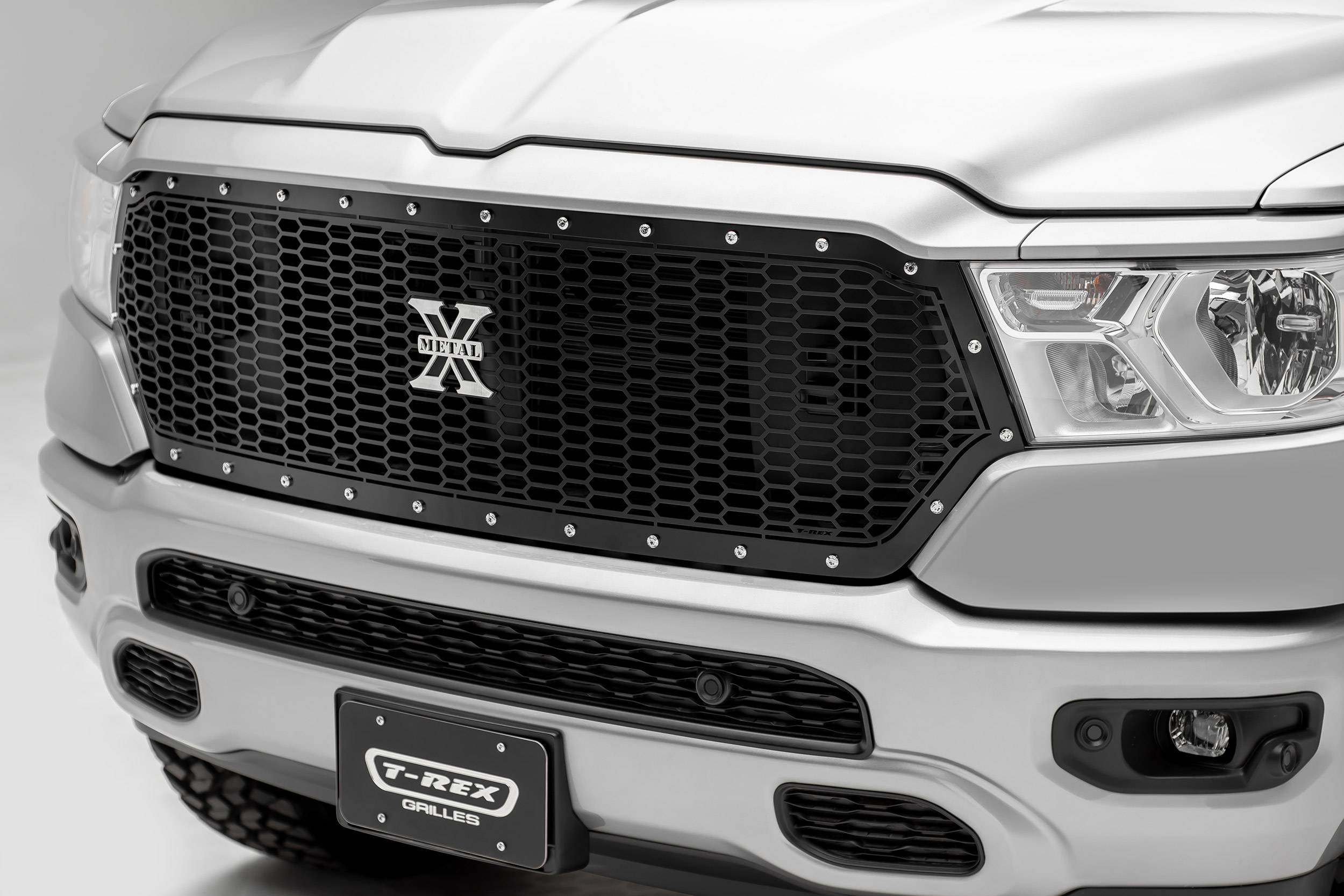 T-REX Grilles - 2019-2021 Ram 1500 Laramie, Lone Star, Big Horn, Tradesman Laser X Grille, Black, 1 Pc, Replacement, Chrome Studs, Does Not Fit Vehicles with Camera - PN #7714651