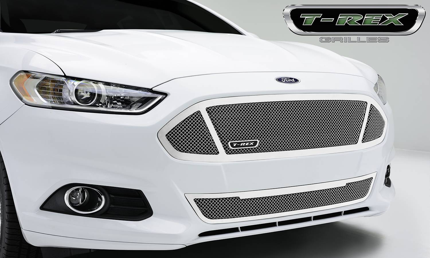 2013-2015 Ford Fusion Upper Class Series Bumper Grille, Polished, Stainless Steel, 1 Pc, Replacement - PN# 55531