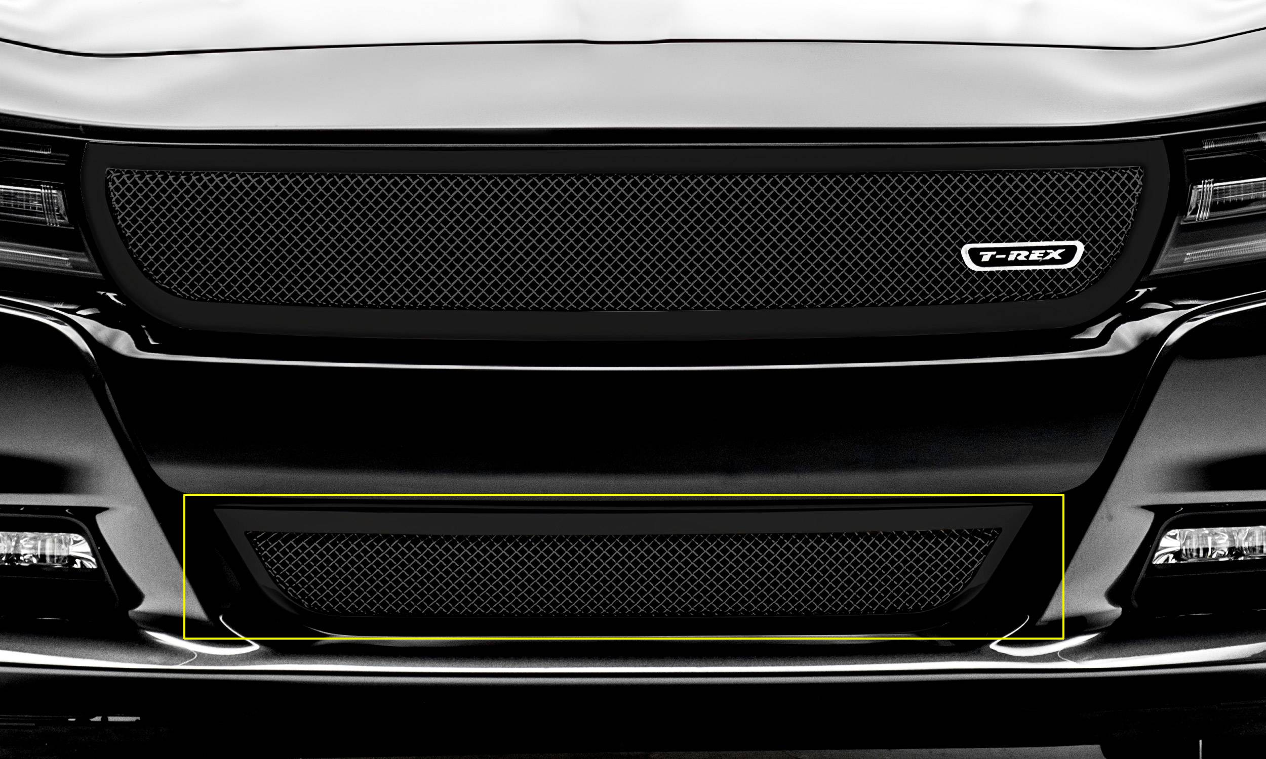 T-REX Grilles - 2015-2020 Charger Upper Class Series Bumper Grille, Black, 1 Pc, Overlay - PN #52480