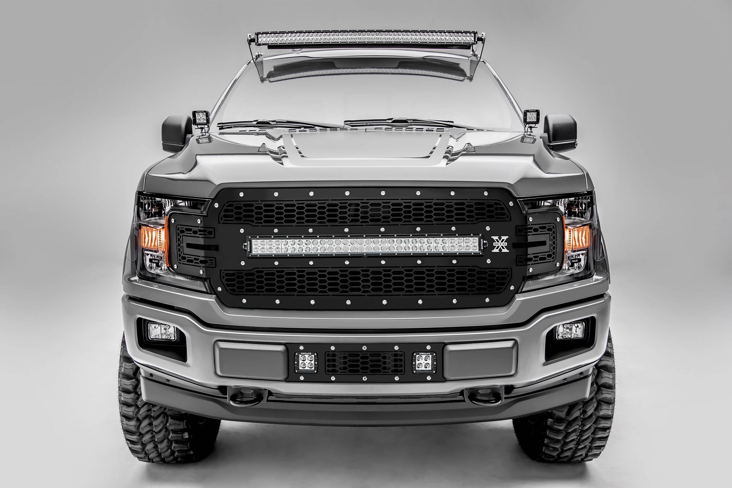 T-REX Grilles - 2018-2020 F-150 Laser Torch Grille, Black, 1 Pc, Replacement, Chrome Studs, Incl. 30 Inch LED - PN #7315711