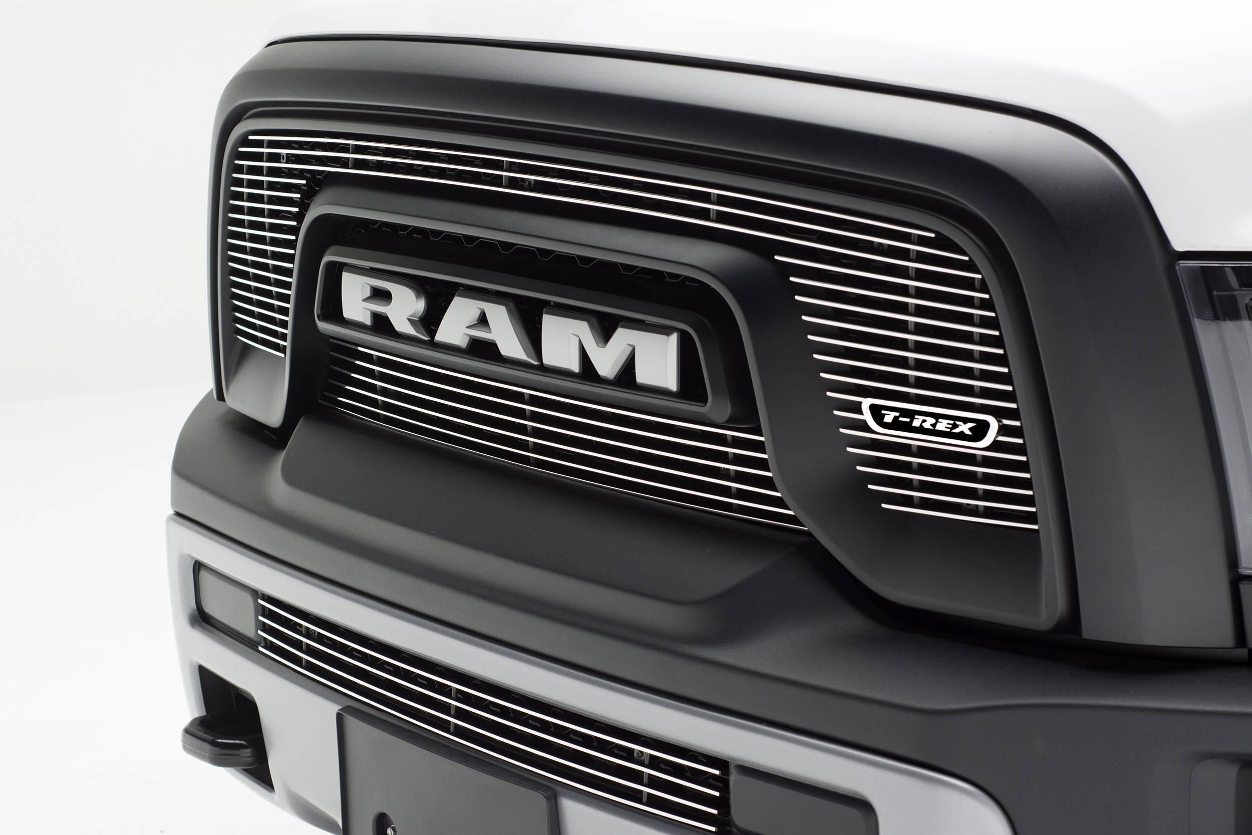 T-REX Grilles - 2015-2018 Ram 1500 Rebel Laser Billet Grille, Polished, 2 Pc, Overlay - PN #6214640