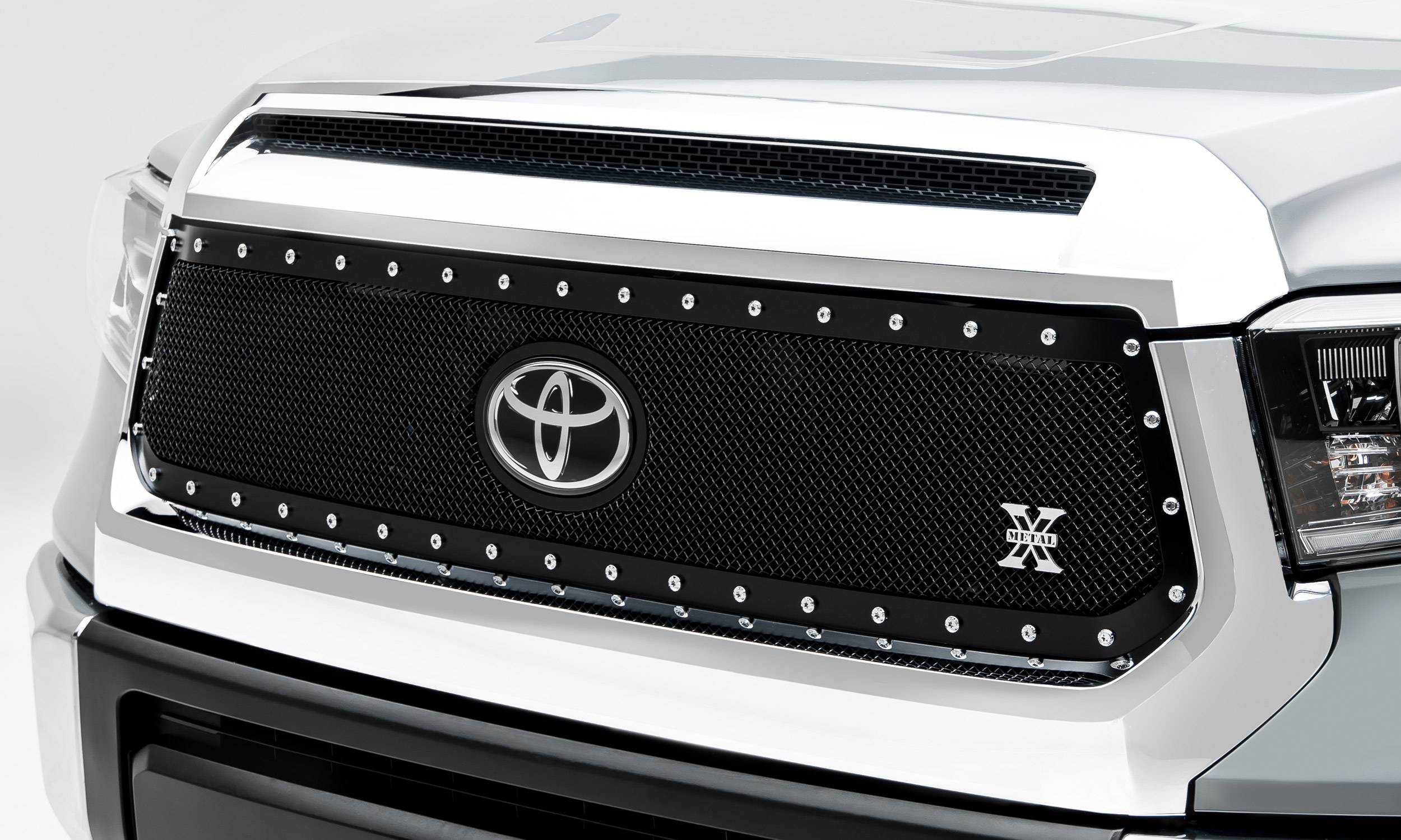 T-REX Grilles - 2018-2021 Tundra X-Metal Grille, Black, 1 Pc, Replacement, Chrome Studs, Does Not Fit Vehicles with Camera - PN #6719661