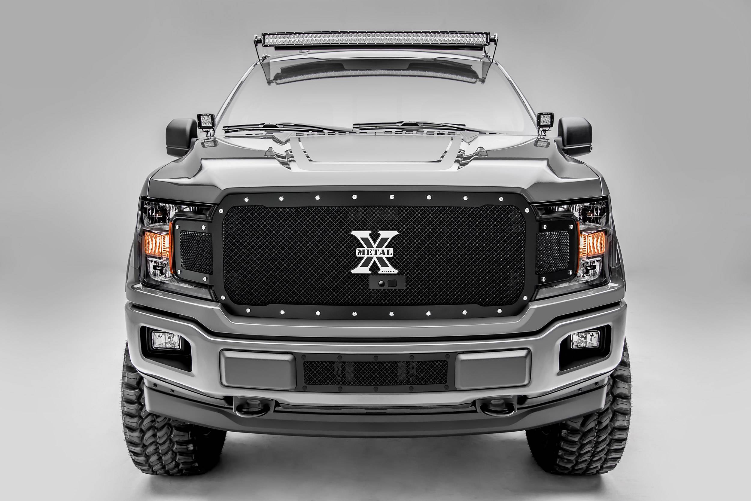 T-REX Grilles - 2018-2020 F-150 X-Metal Grille, Black, 1 Pc, Replacement, Chrome Studs, Fits Vehicles with Camera - PN #6715791