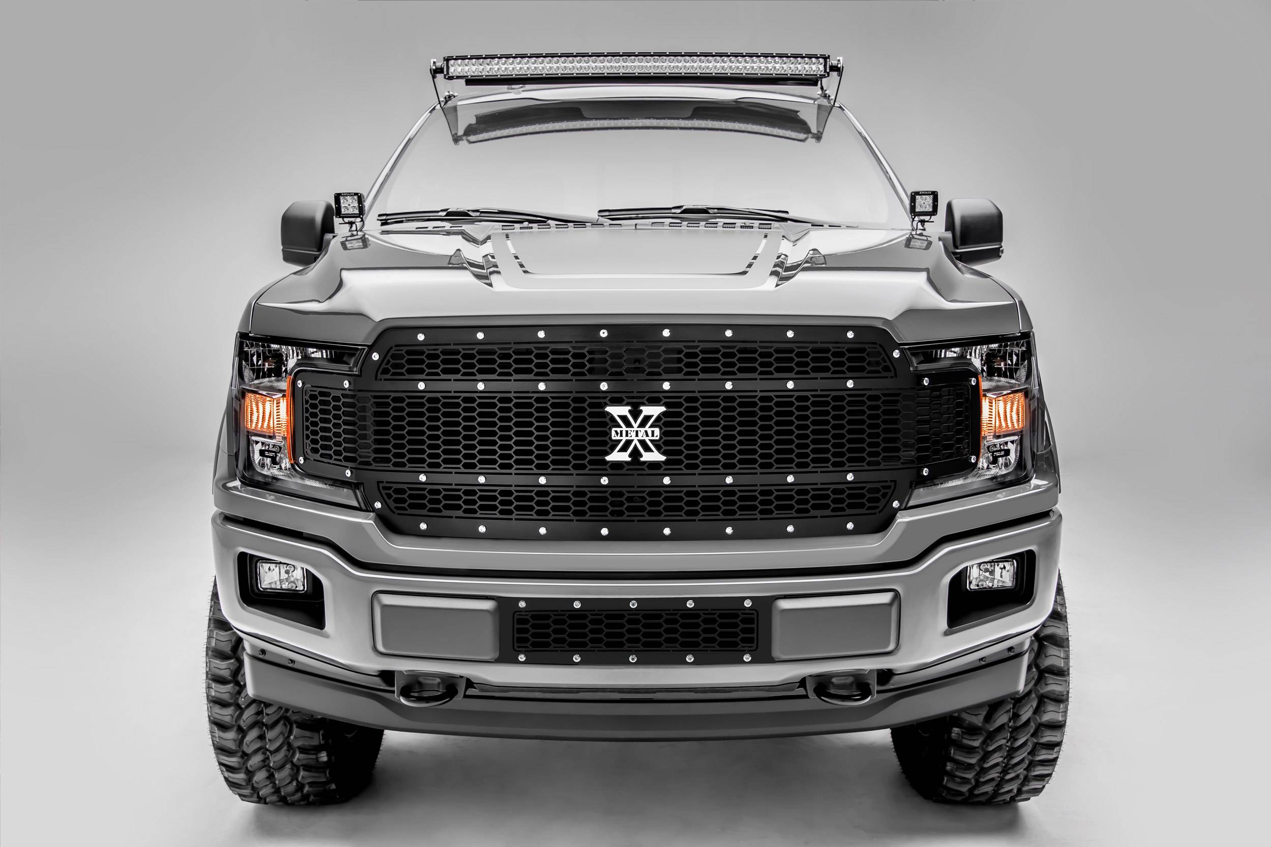 T-REX Grilles - 2018-2020 F-150 Laser X Grille, Black, 1 Pc, Replacement, Chrome Studs, Does Not Fit Vehicles with Camera - PN #7715841
