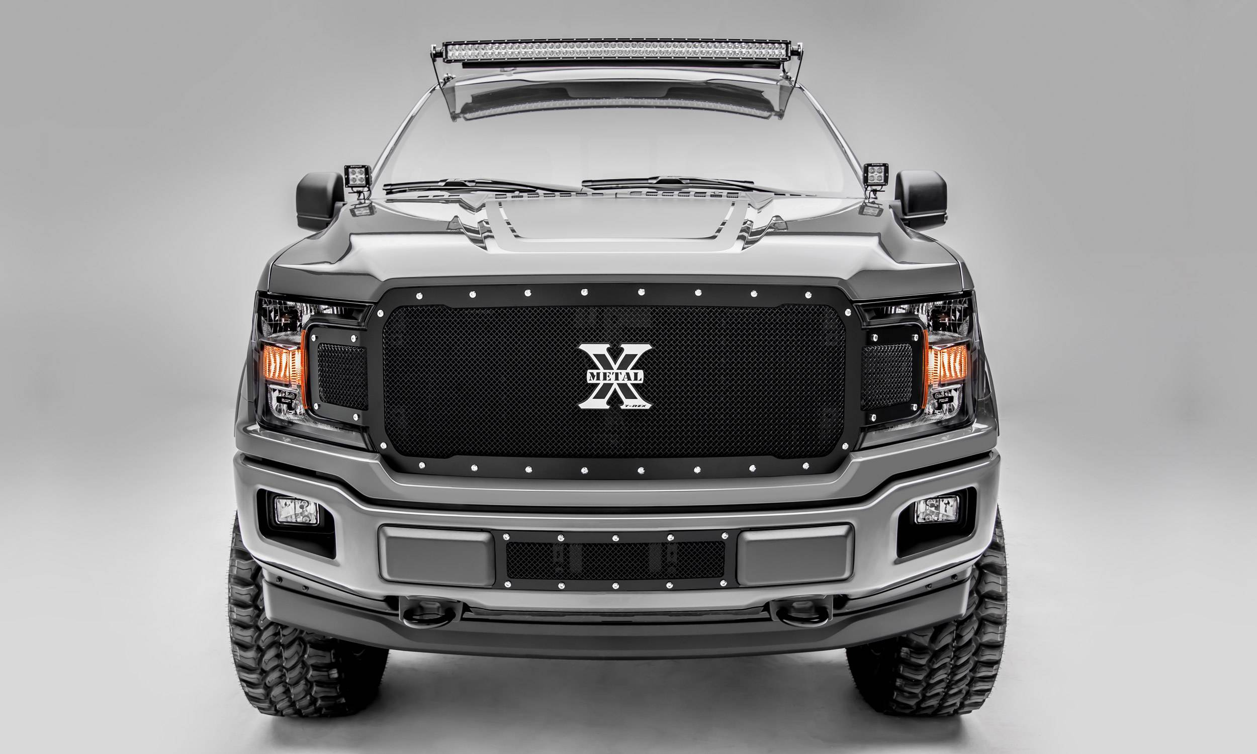 T-REX Grilles - 2018-2020 F-150 X-Metal Grille, Black, 1 Pc, Replacement, Chrome Studs, Does Not Fit Vehicles with Camera - PN #6715711
