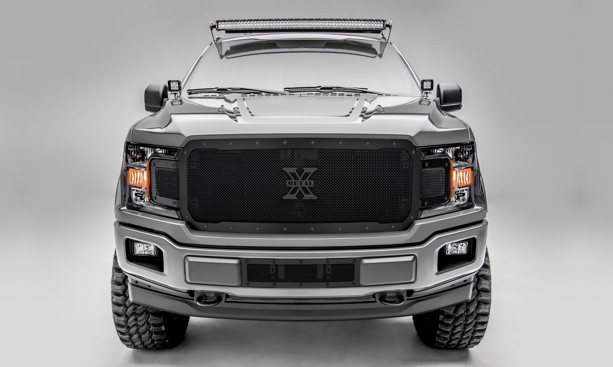T-REX Grilles - 2018-2020 F-150 Stealth X-Metal Grille, Black, 1 Pc, Replacement, Black Studs, Does Not Fit Vehicles with Camera - PN #6715711-BR